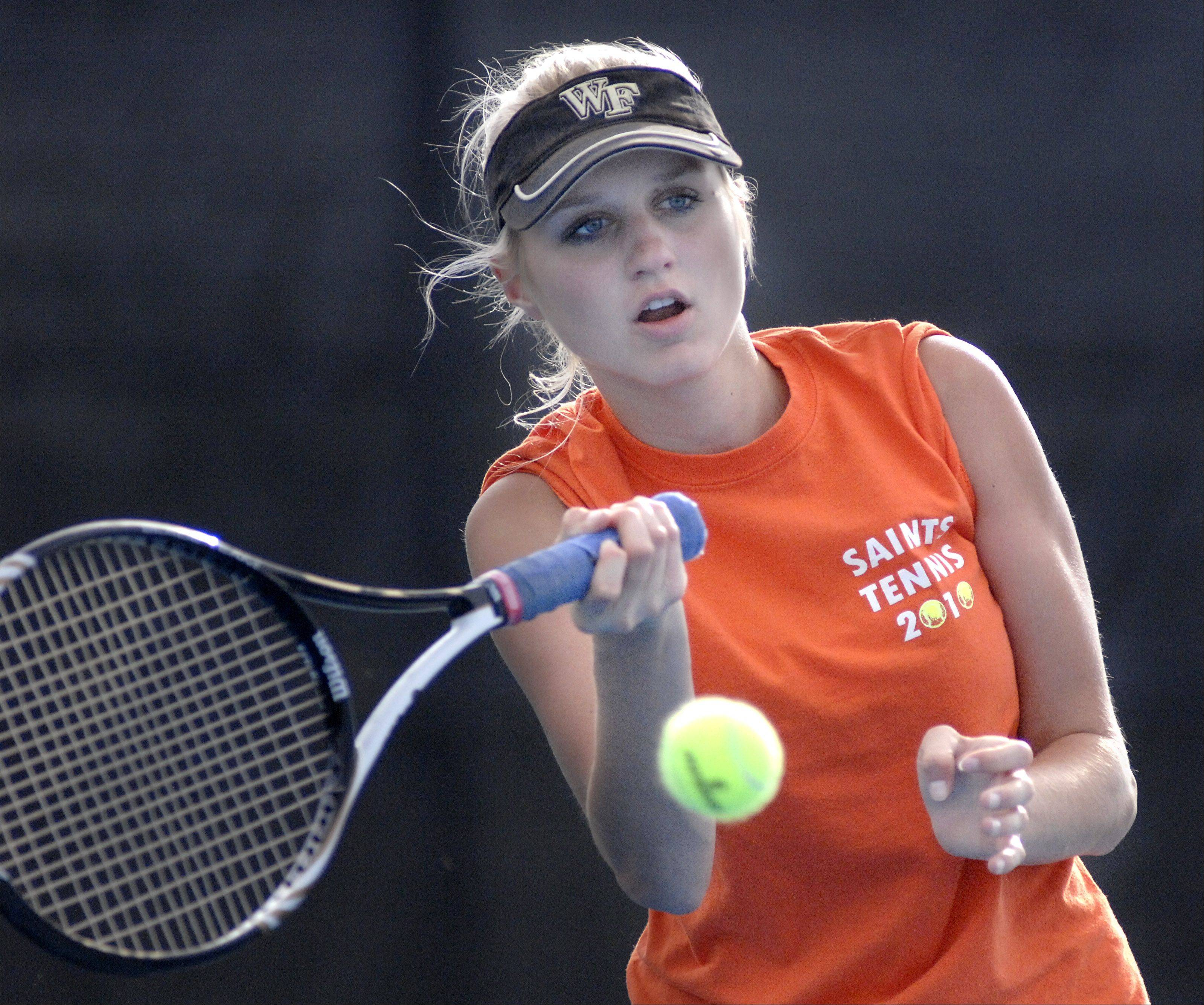 St. Charles East's Sarah Church in the first singles match on Tuesday, September 18.