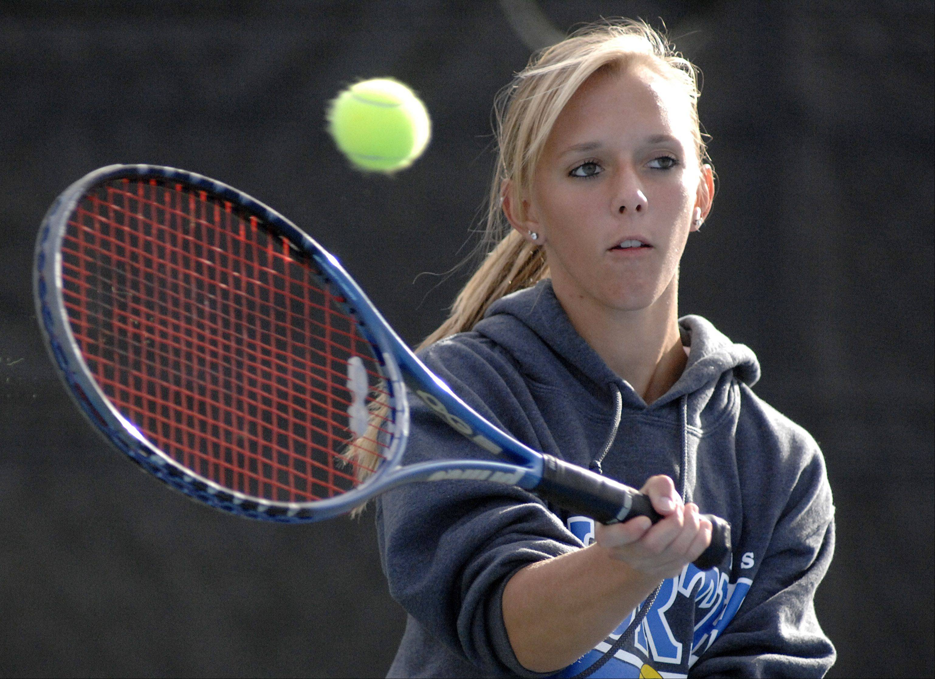 St. Charles North's Tessa Masa in the first singles match vs St. Charles East's Sarah Church on Tuesday, September 18.