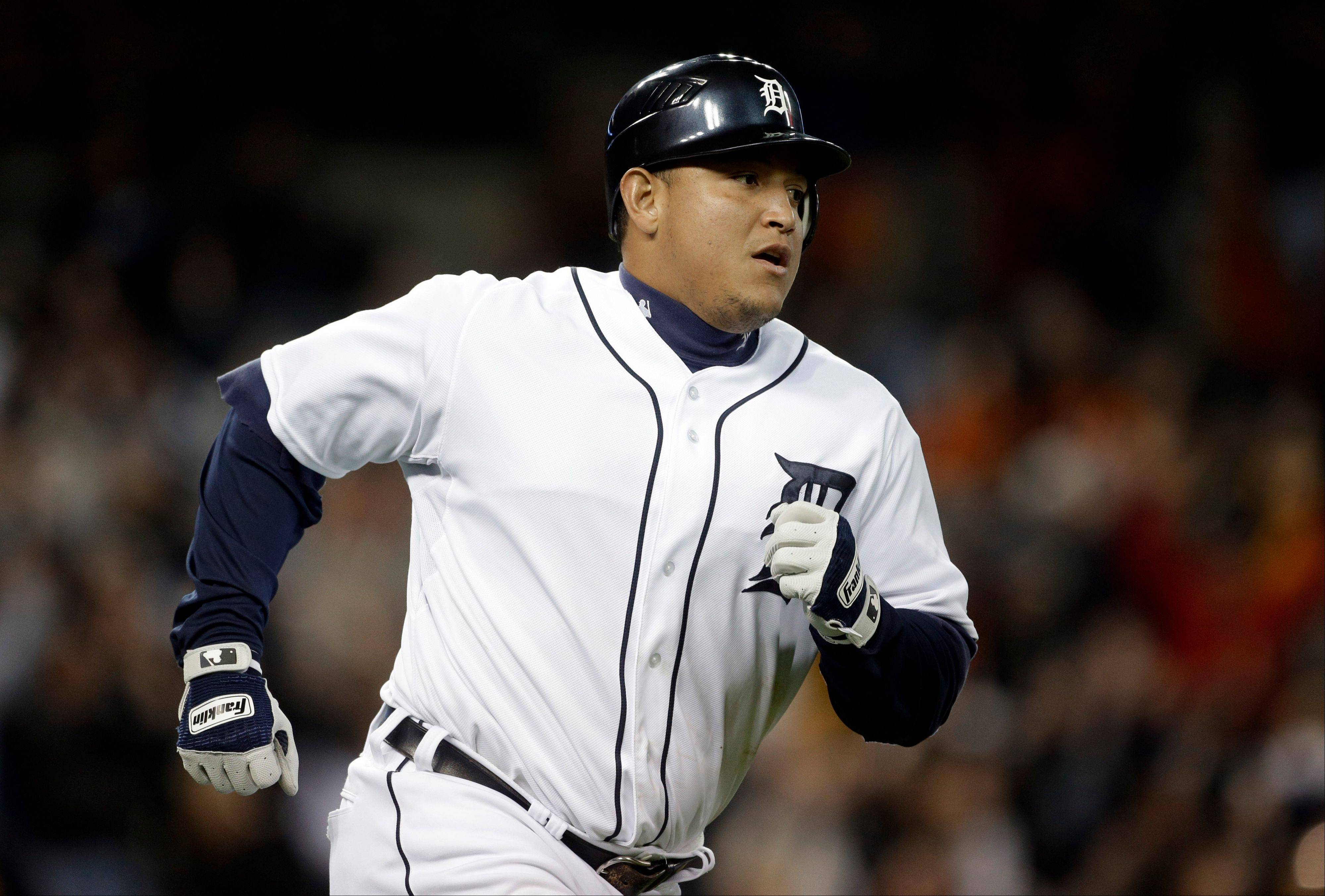 The Detroit Tigers' Miguel Cabrera runs the bases Tuesday after hitting a grand slam against the Oakland Athletics in the eighth inning.