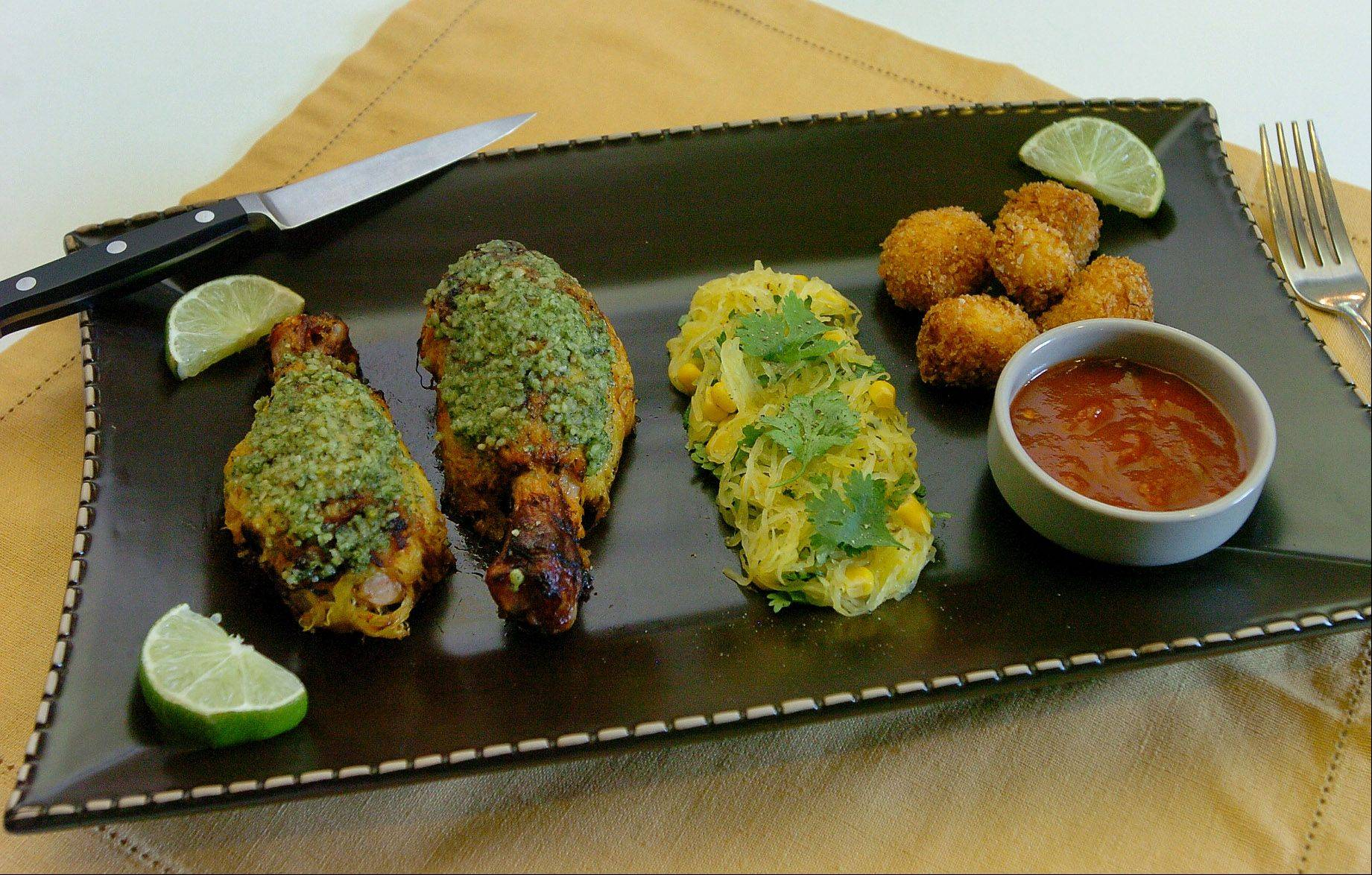 Nested Salsa Chicken Legs with Cilantro Pesto and Spaghetti Squash Tots
