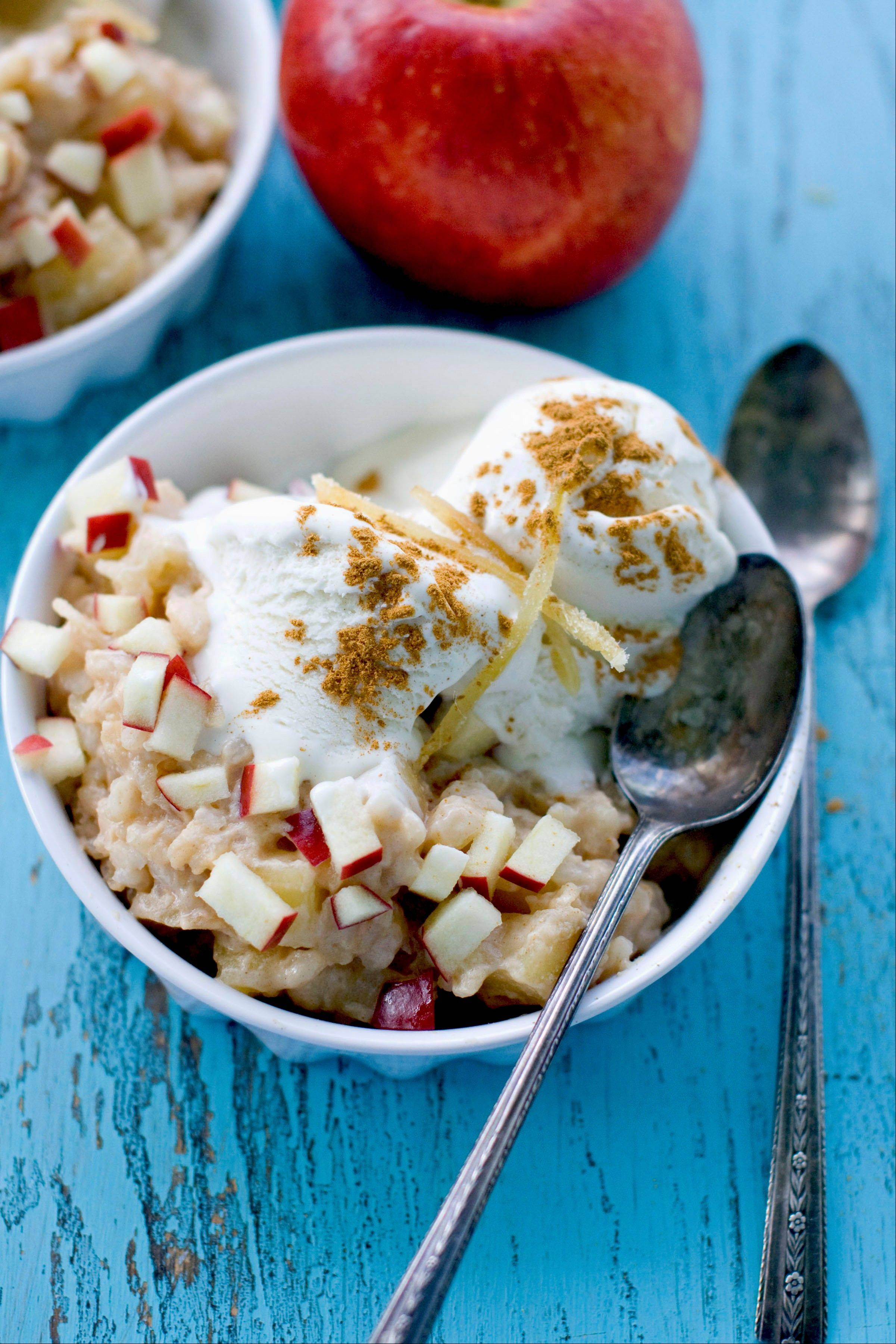 Arborio rice creates creamy texture for this Caramelized Apple Ginger Rice Pudding.