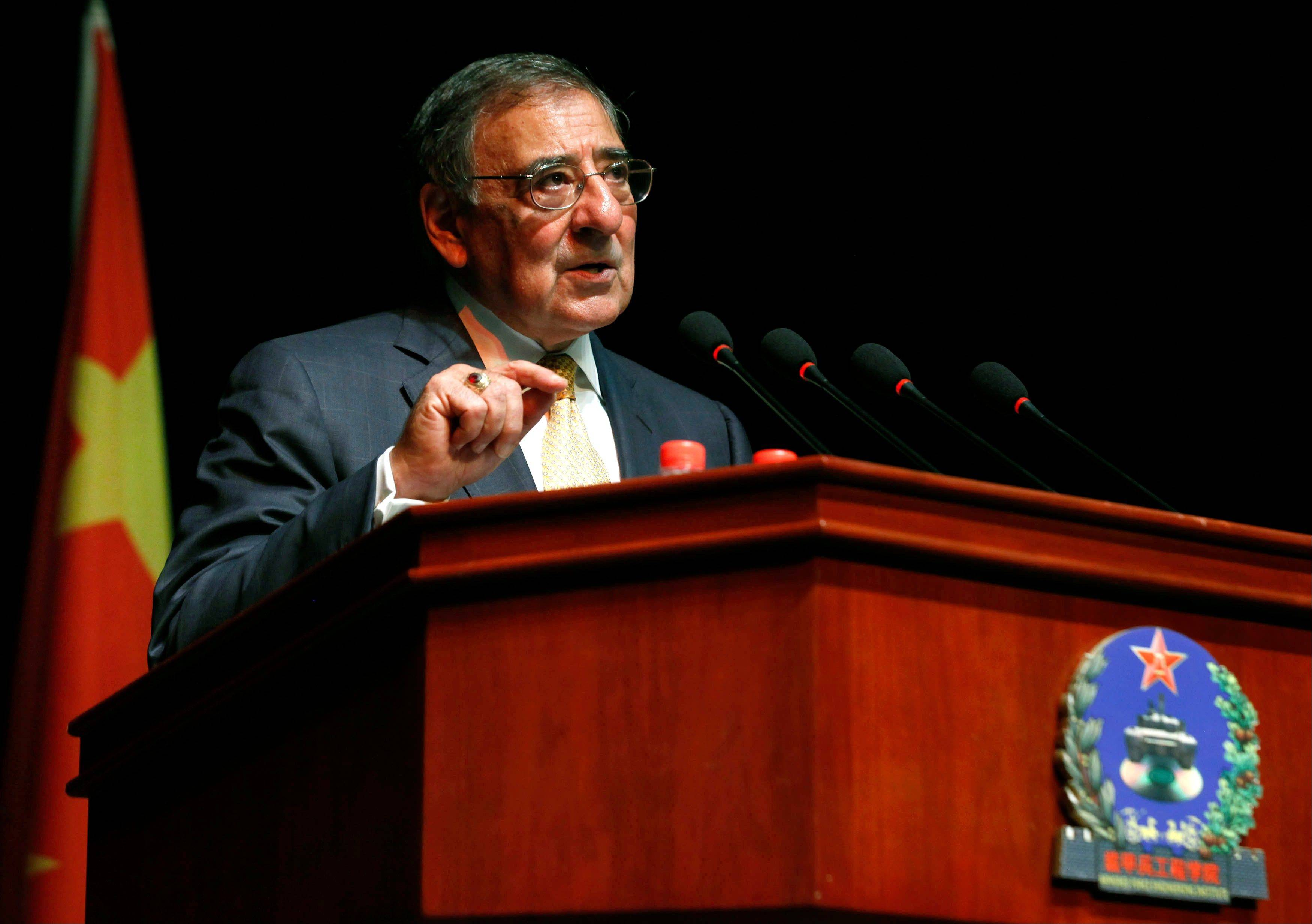 U.S. Secretary of Defense Leon Panetta addresses cadets at the Engineering Academy of PLA Armored Forces, in Beijing, Wednesday, Sept. 19, 2012.