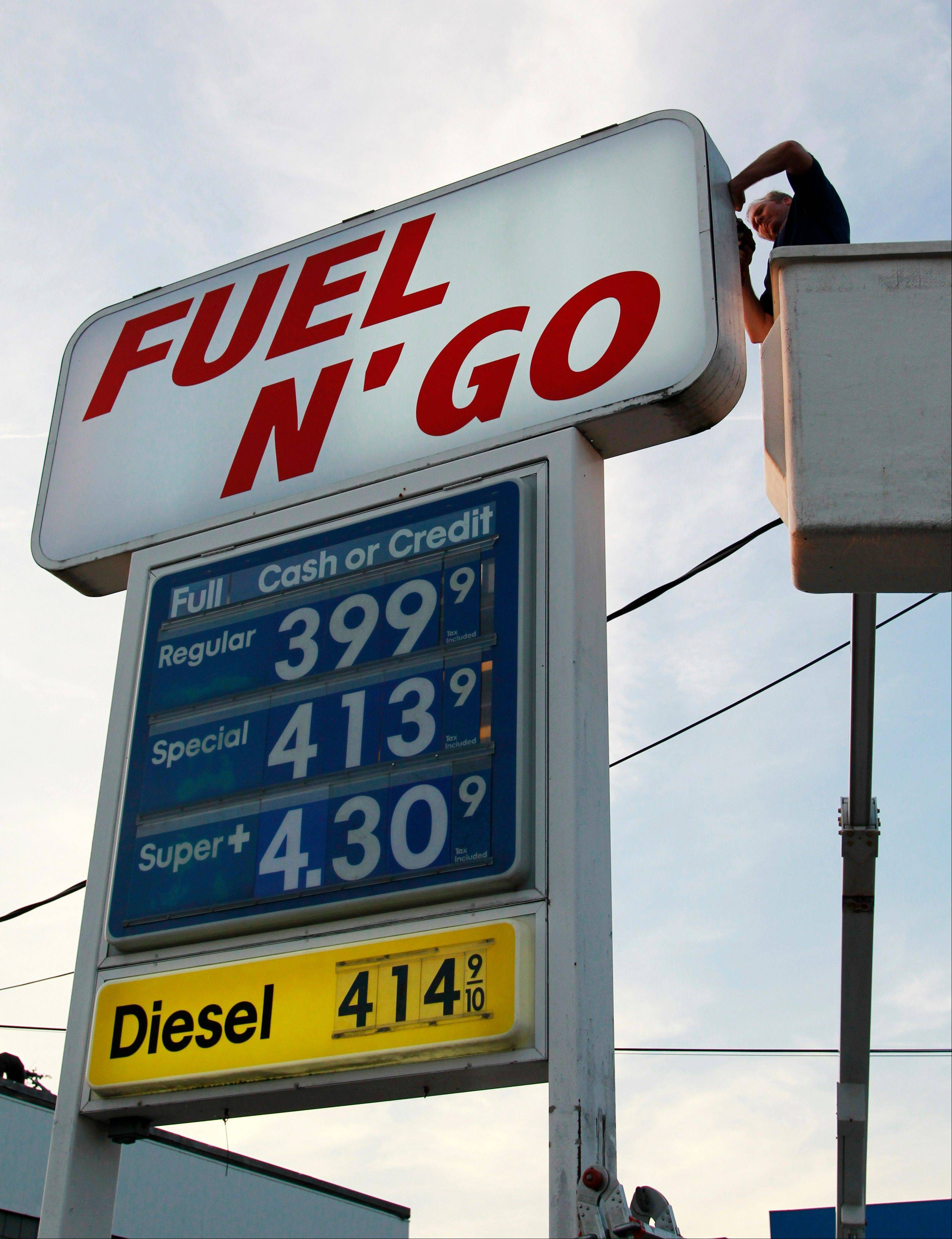 Sign worker Ray Messore, of Glocester, R.I., works on a sign next to one where gasoline prices are posted at a gas station in Pawtucket, R.I.,