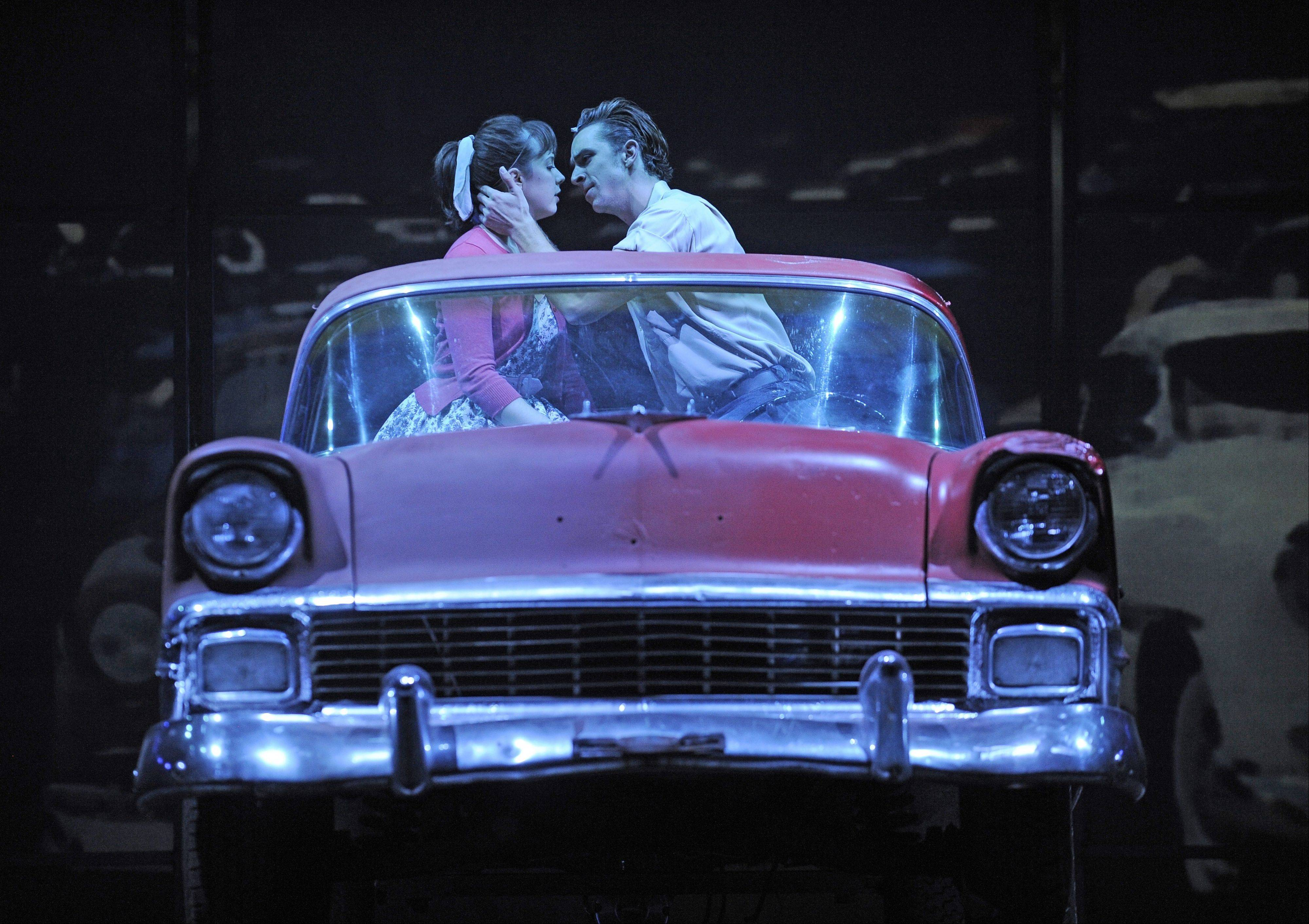 "Sandy Dumbrowski (Emma Ritchie) and Danny Zuko (Skyler Adams) are about to be ""Alone at the Drive-In Movie"" in ""Grease"" at the Paramount Theatre in Aurora."