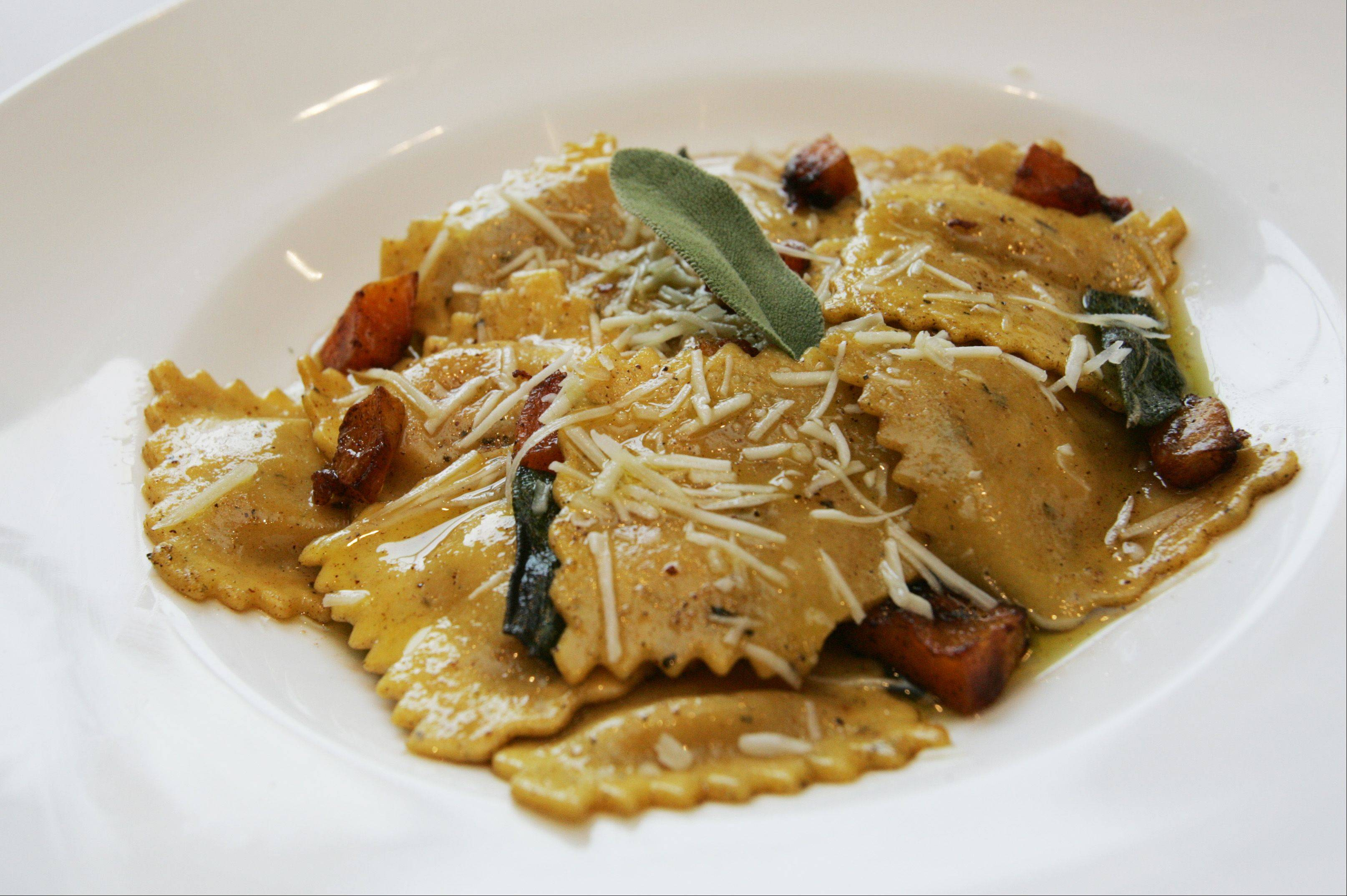 Butternut squash puree fills these homemade raviolis that are served with a sage-infused brown butter sauce.