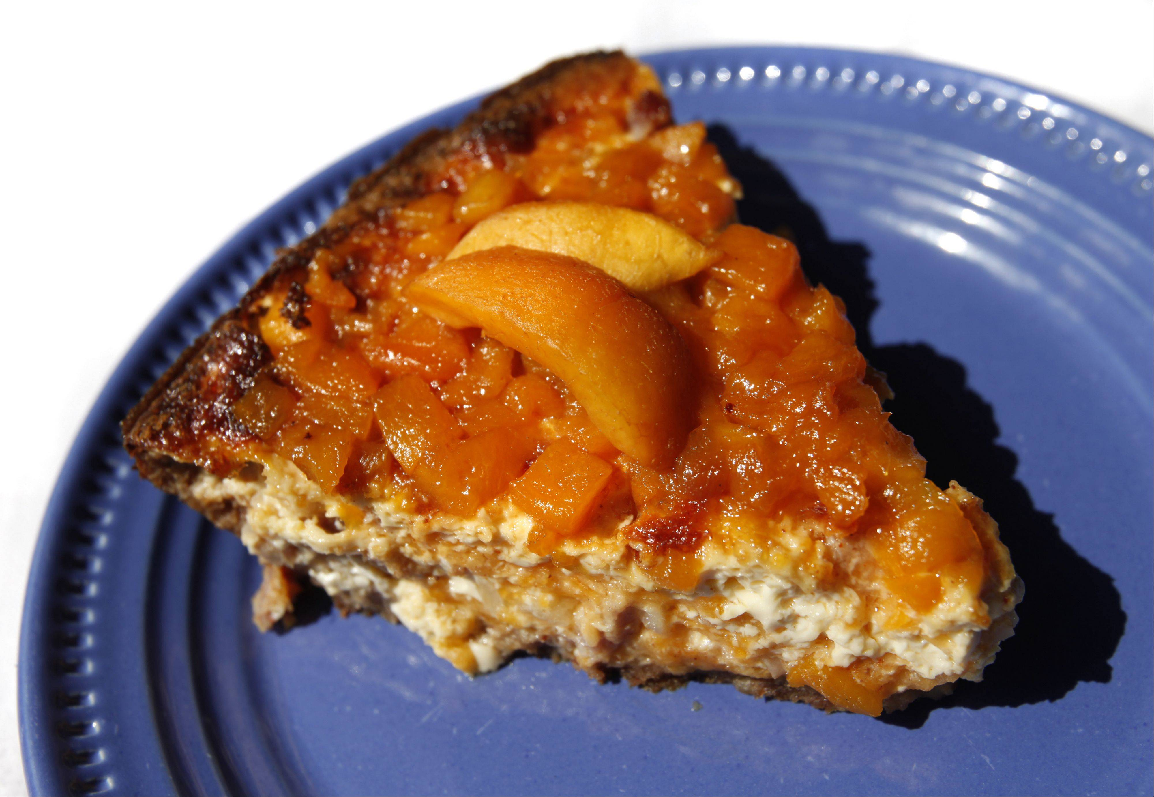 Mary Beth Thornton prepared a quiche created with peach-topped ham in a tater tot and pecan crust.
