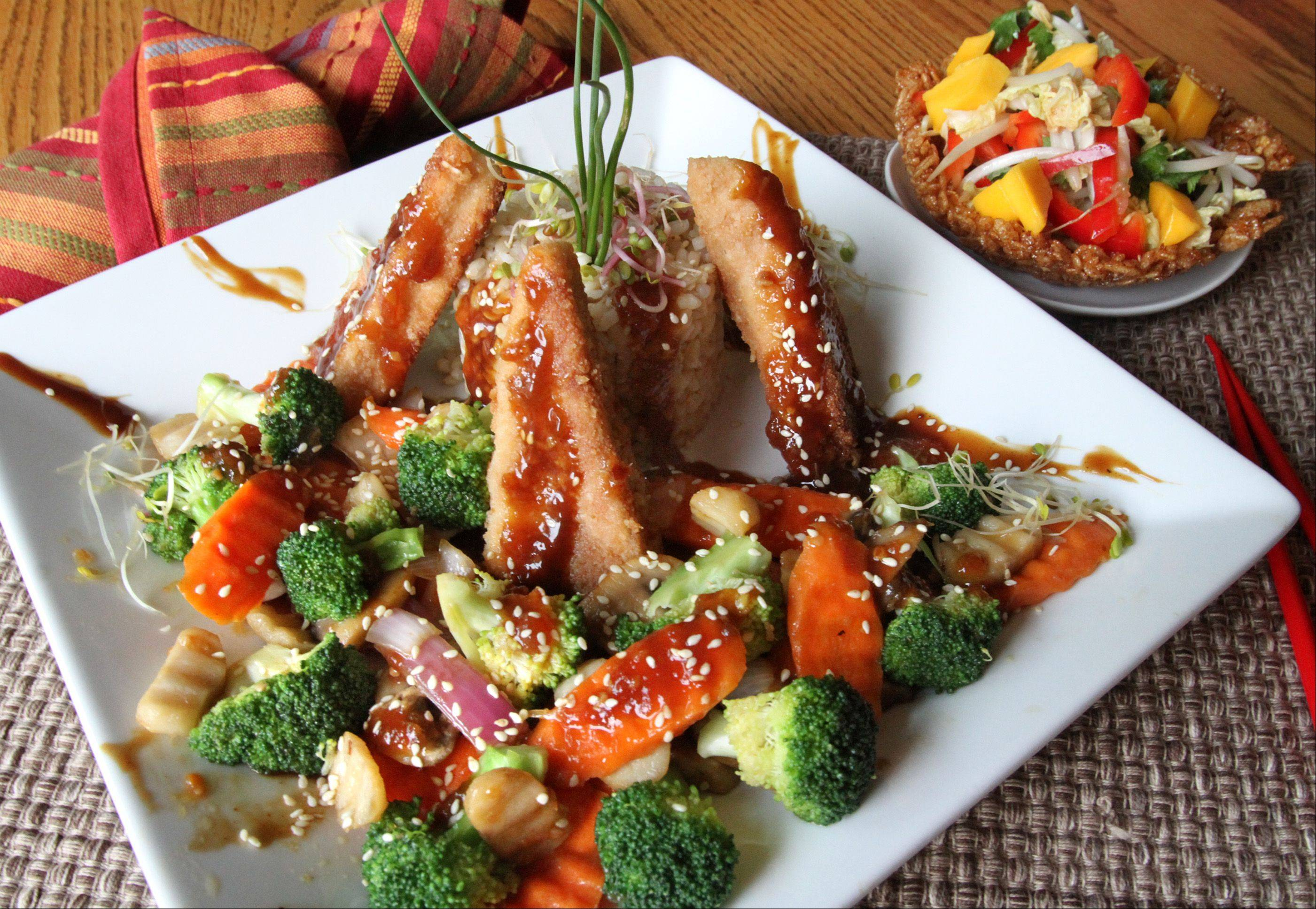 Joe Moninski created a stir-fry dish using tofu, crispy rice cereal, broccoli and mango chutney.