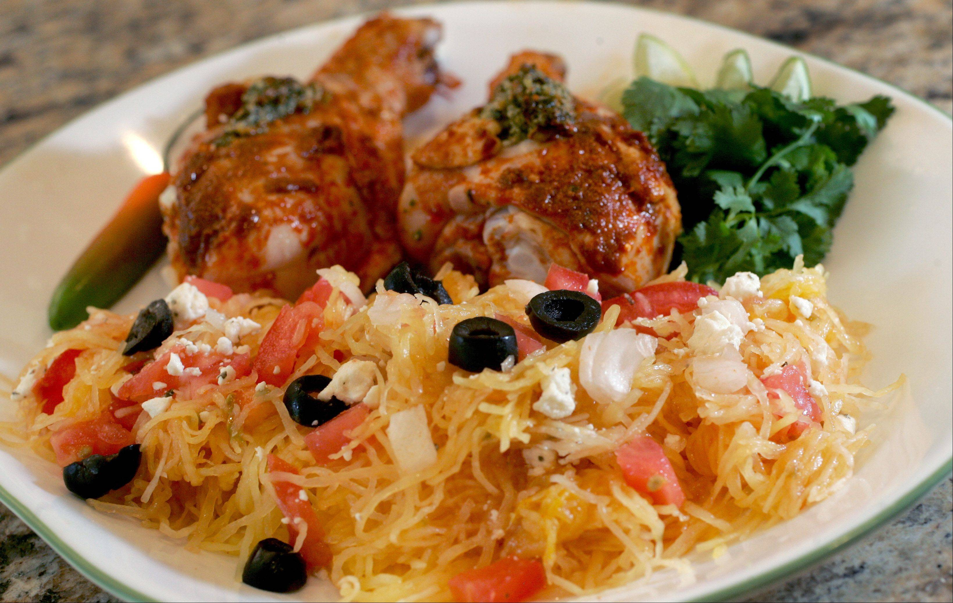 Marie Evangelista used jarred salsa, chicken legs, spaghetti squash and pepitas to create this dish.