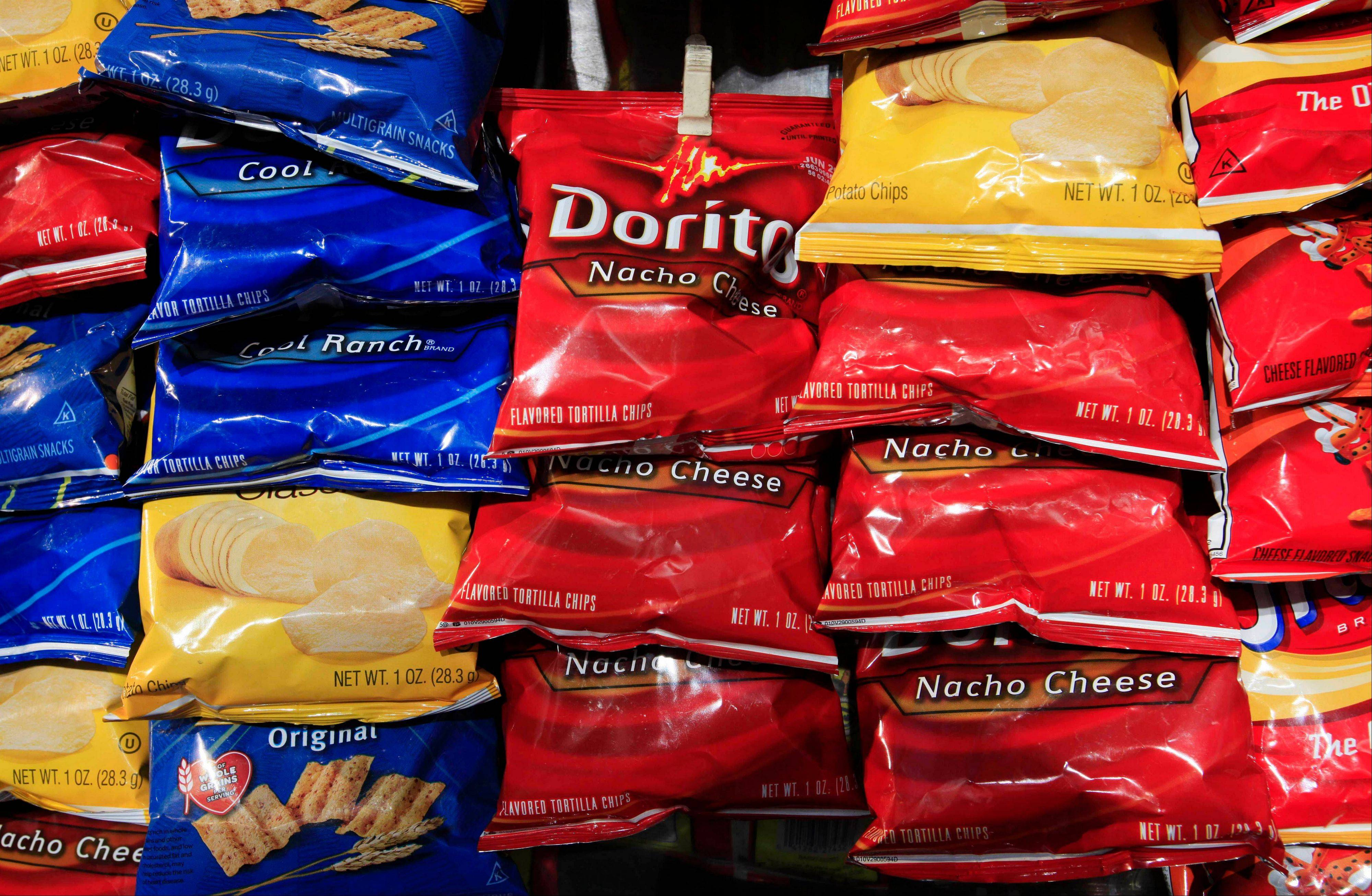 Bags of Doritos corn chips at a kiosk, in New York. Doritos is upping the prize for its annual �Crash the Super Bowl� contest, the Frito Lay snack chip brand�s seventh annual contest allows viewer to submit their own Doritos commercials and fans to vote on their favorites to appear during the big game.