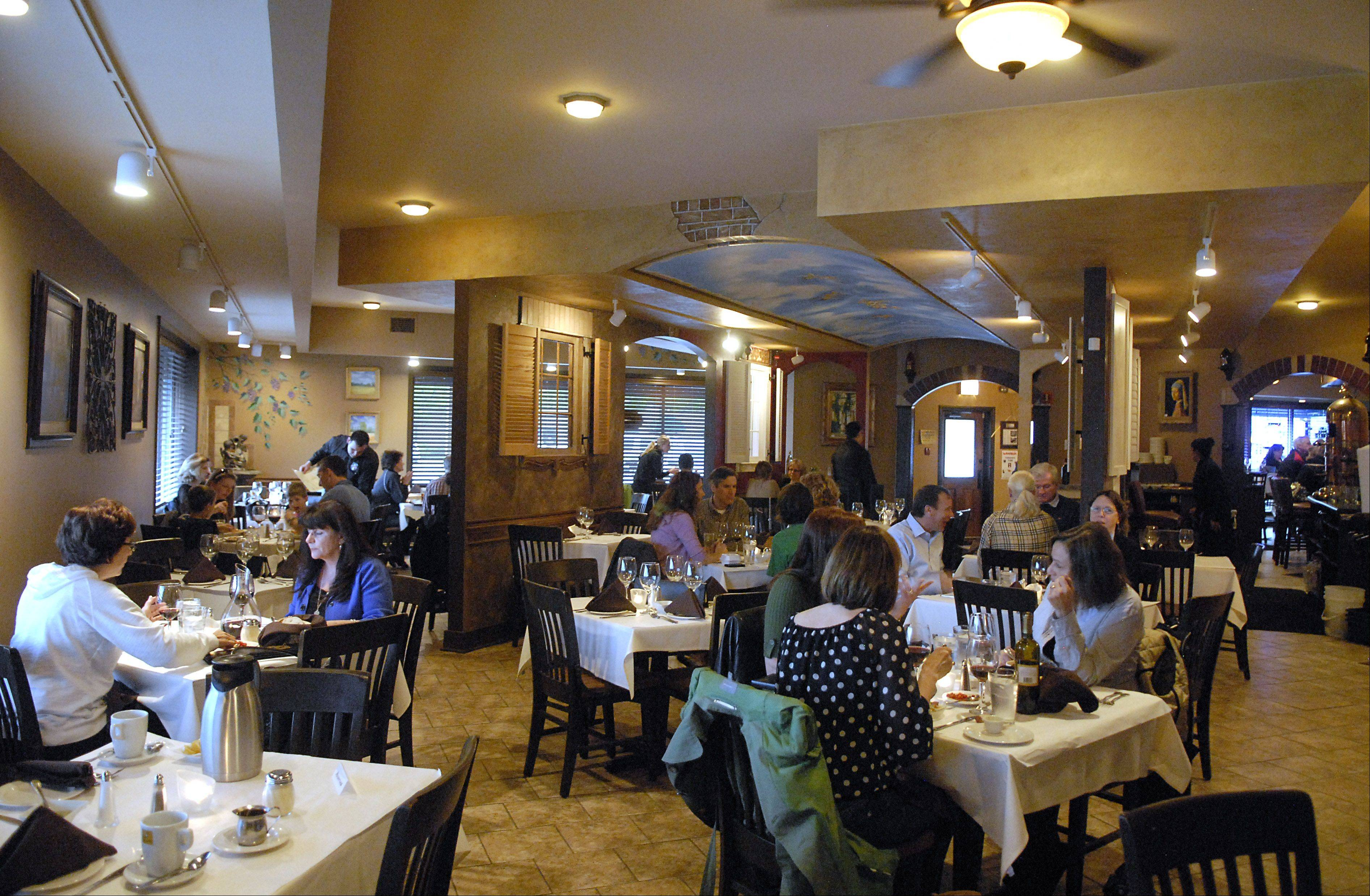 One area of the large dining room in Aliano's Ristorante at 90 N. Island in Batavia.