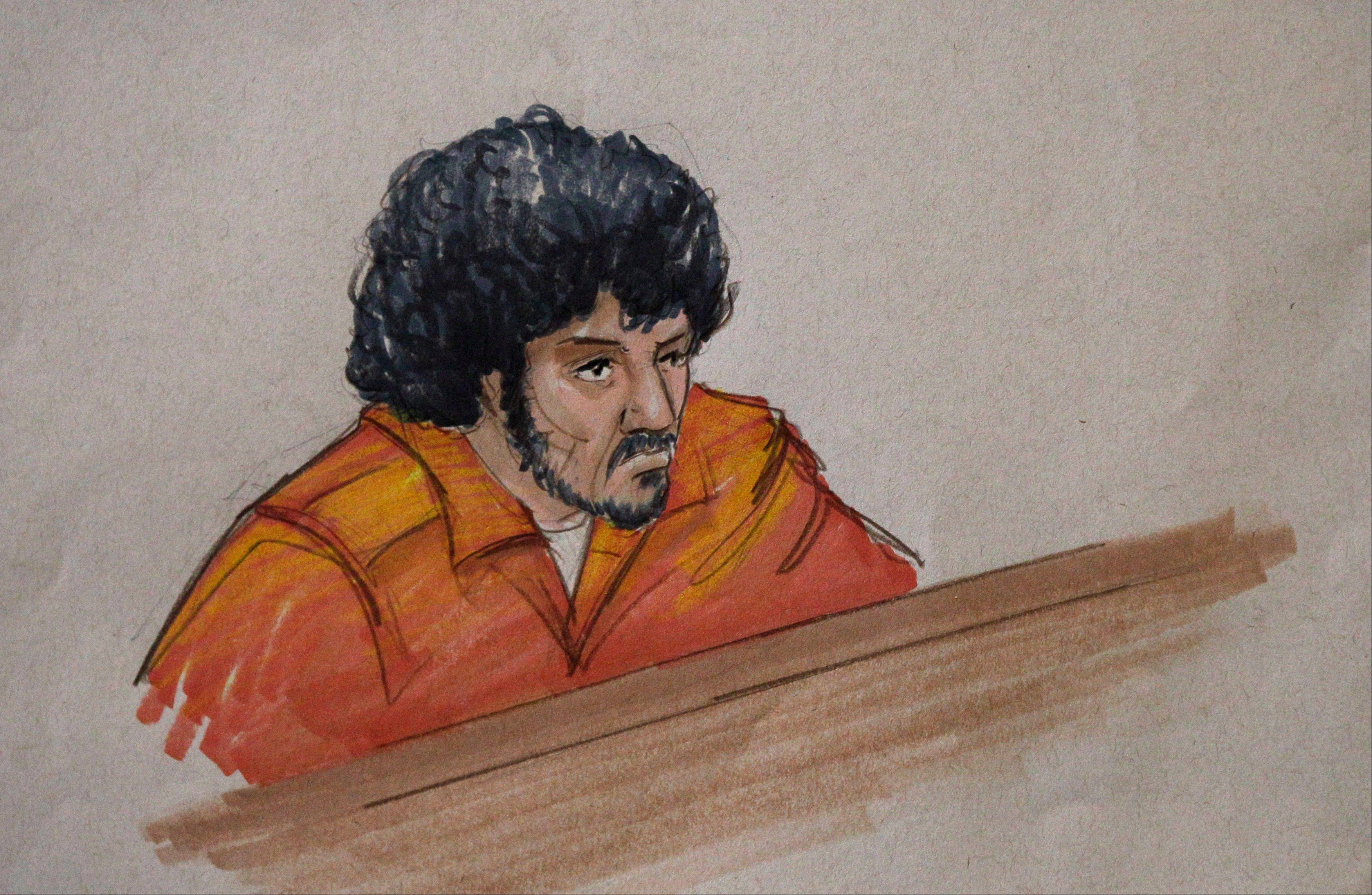 In this courtroom sketch, 18-year-old Adel Daoud of Hillside appears before Judge Arlander Keys on Monday in Chicago. Daud made an initial appearance in court on charges he sought to detonate what he believed to be a car bomb outside a Chicago bar last Friday night.