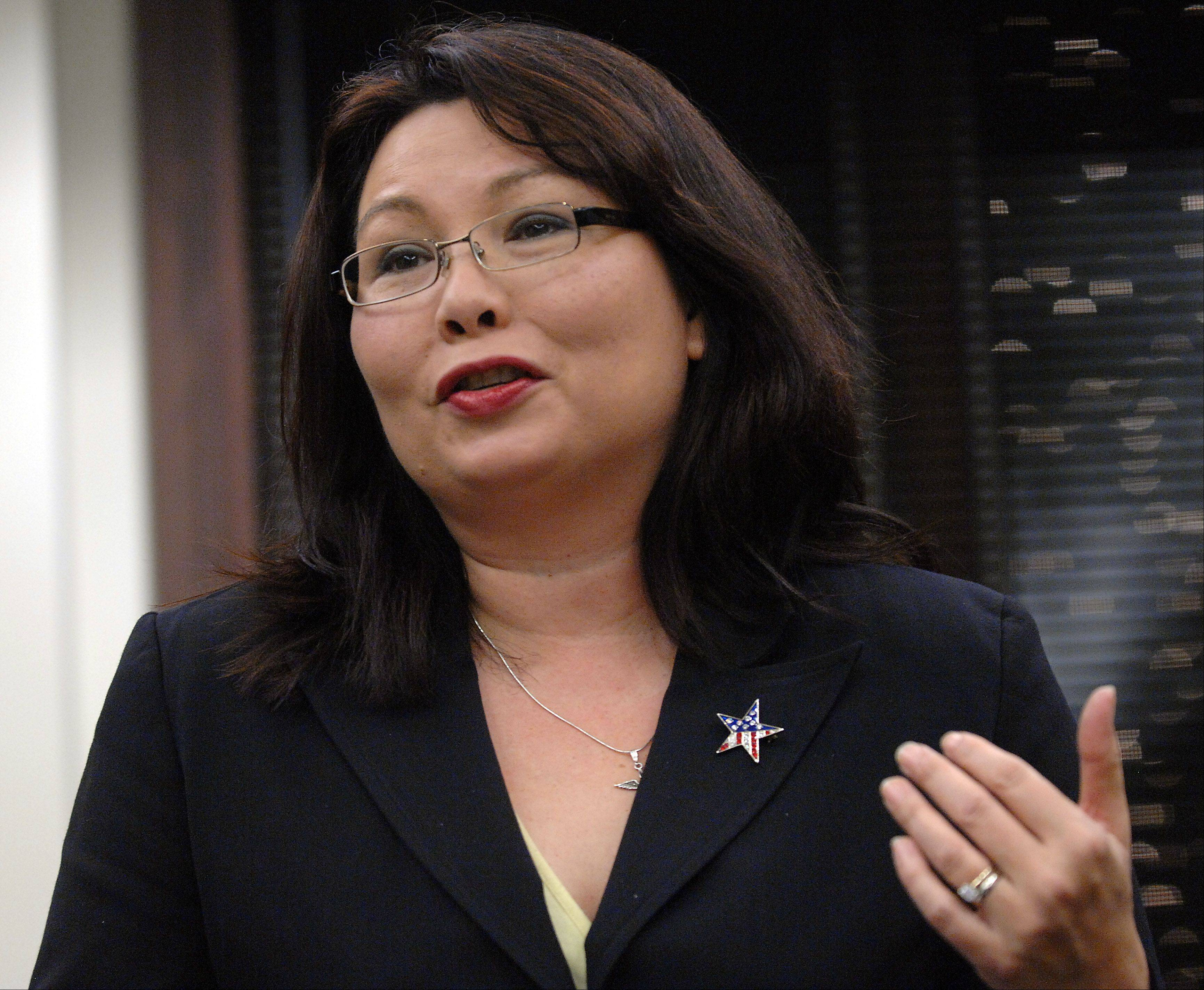 8th Congressional District Democratic candidate Tammy Duckworth speaks at the question-and-answer forum in Arlington Heights Wednesday night.