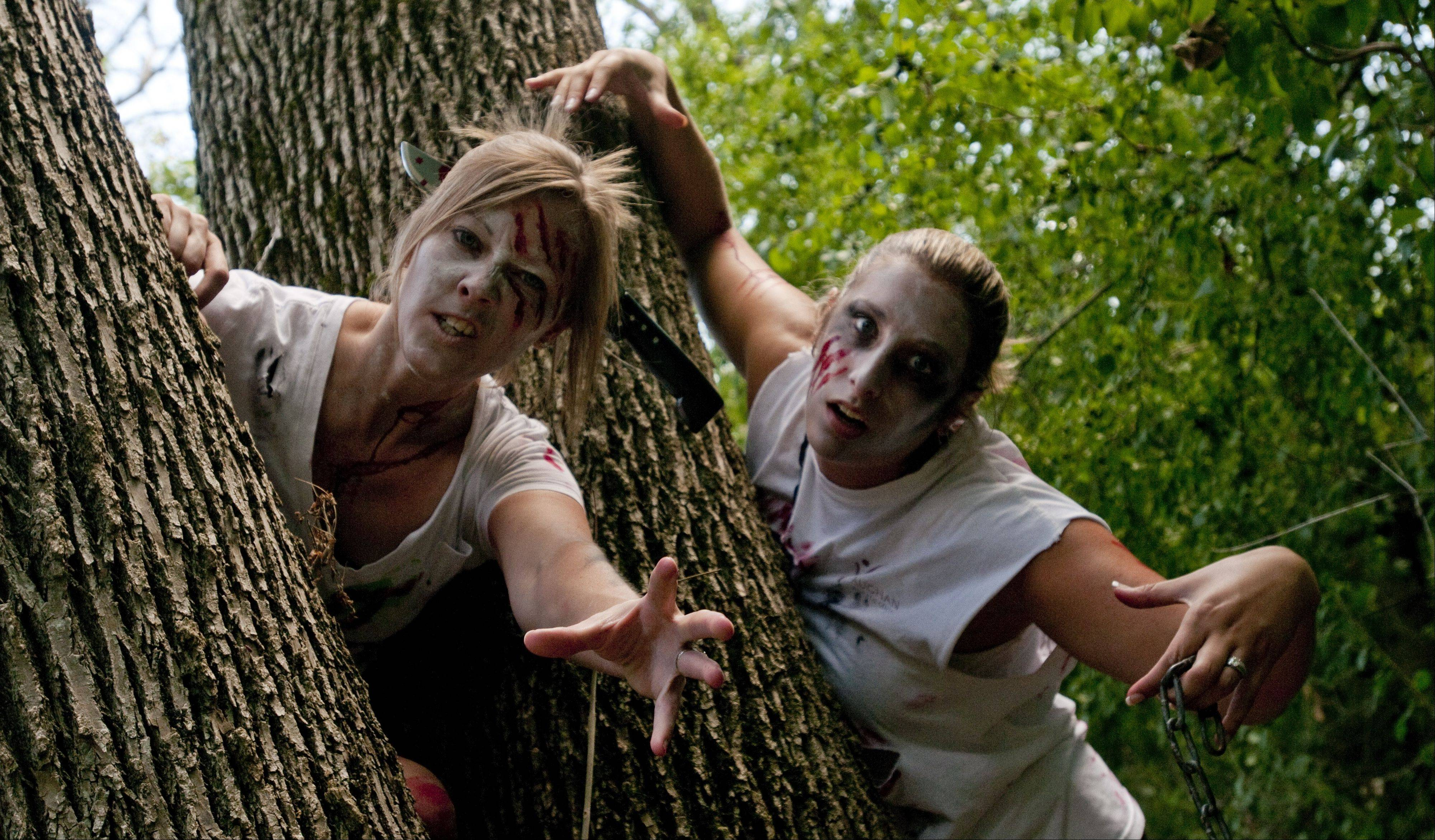 Zombie participants in the Fox Valley Park District's Zombie Invasion 5K will hide behind trees and attempt to capture flag football flags from runners striving to reach the finish line without being tracked down by the undead. The race can accommodate up to 300 participants including zombies and runners.