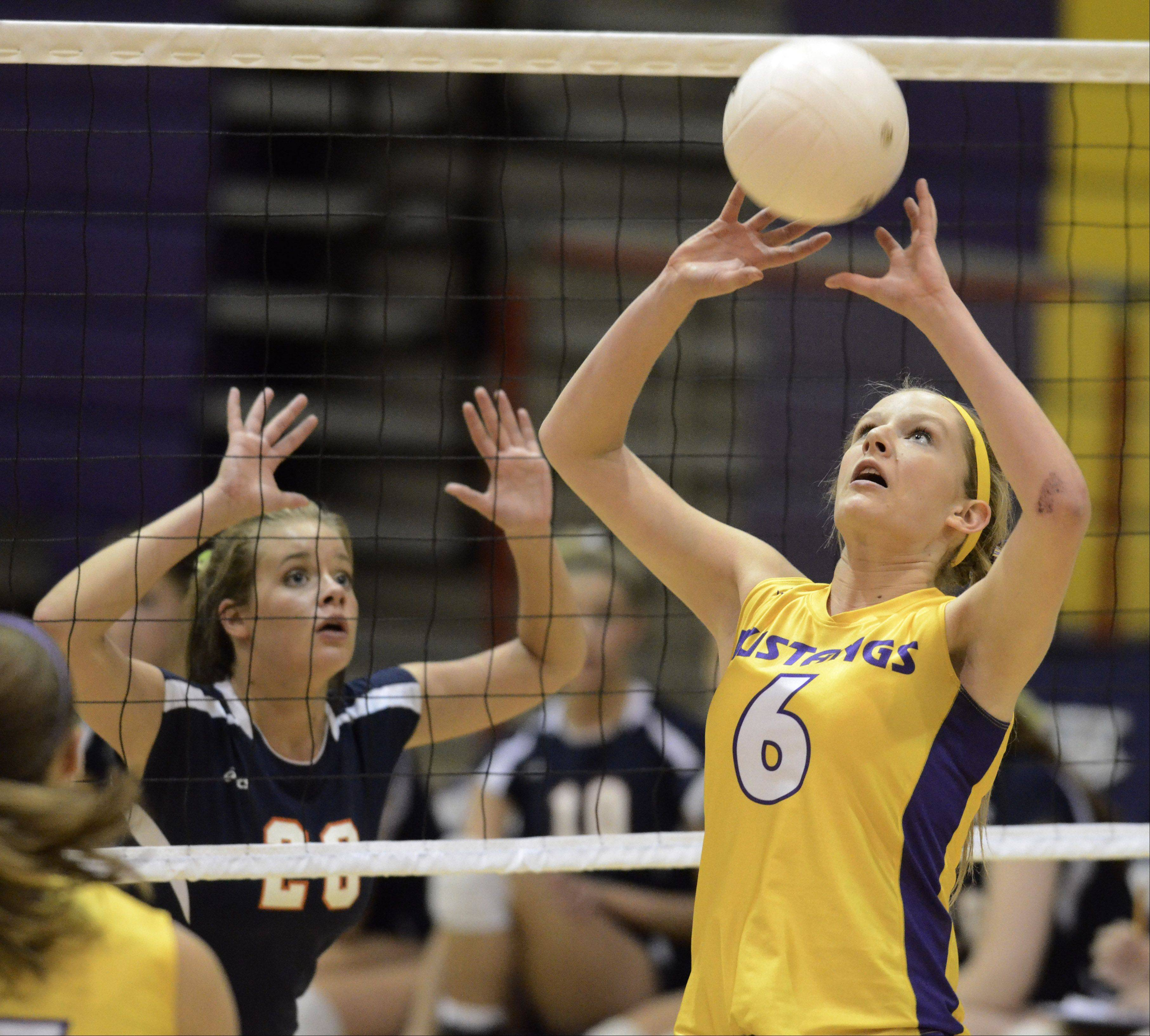 Rolling Meadows' Jenny Vliet sets the ball in front of Buffalo Grove's Alaina Murphy during Thursday's game.