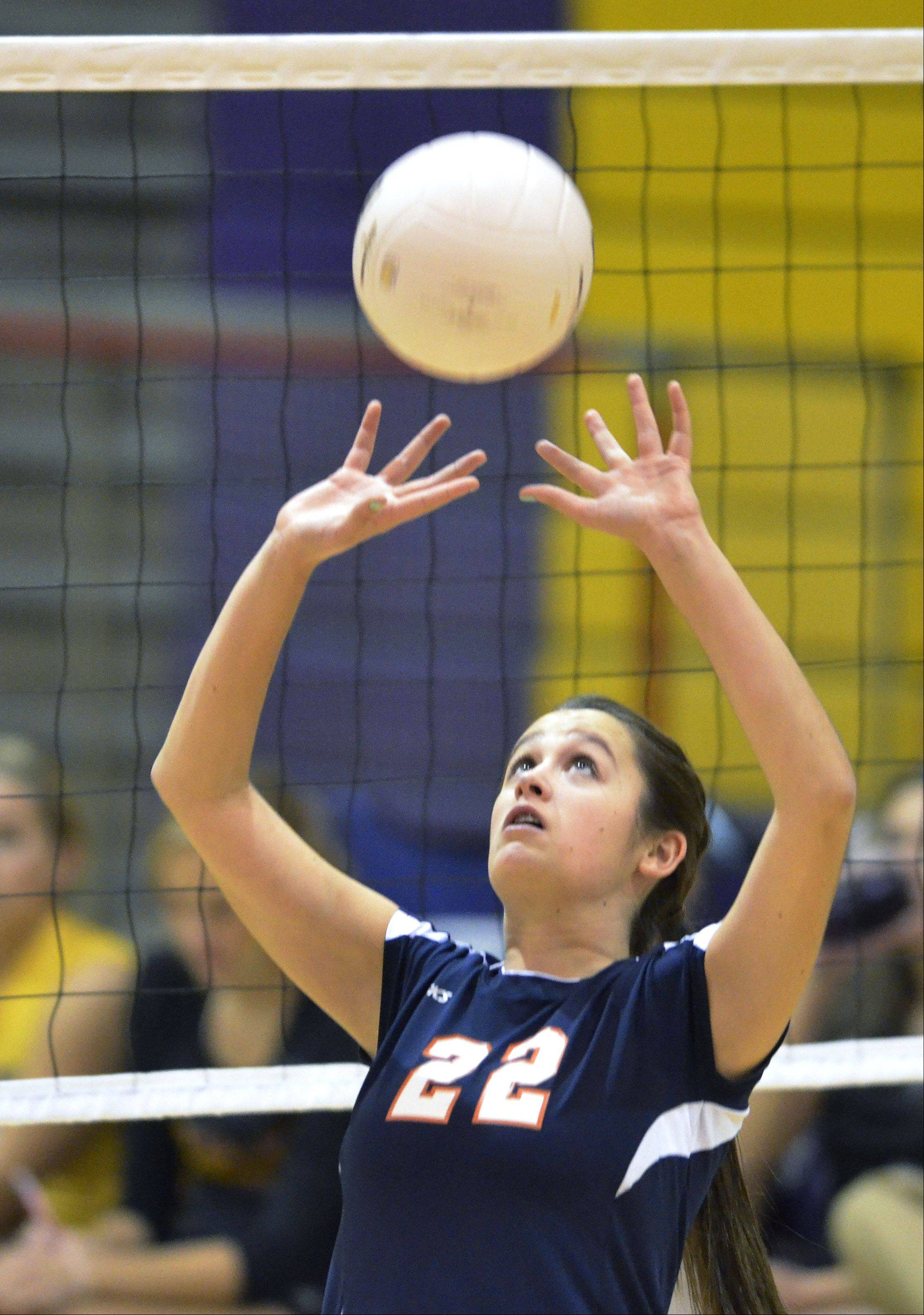 Buffalo Grove's Marie Georgoulis sets the ball during Thursday's game against Rolling Meadows.