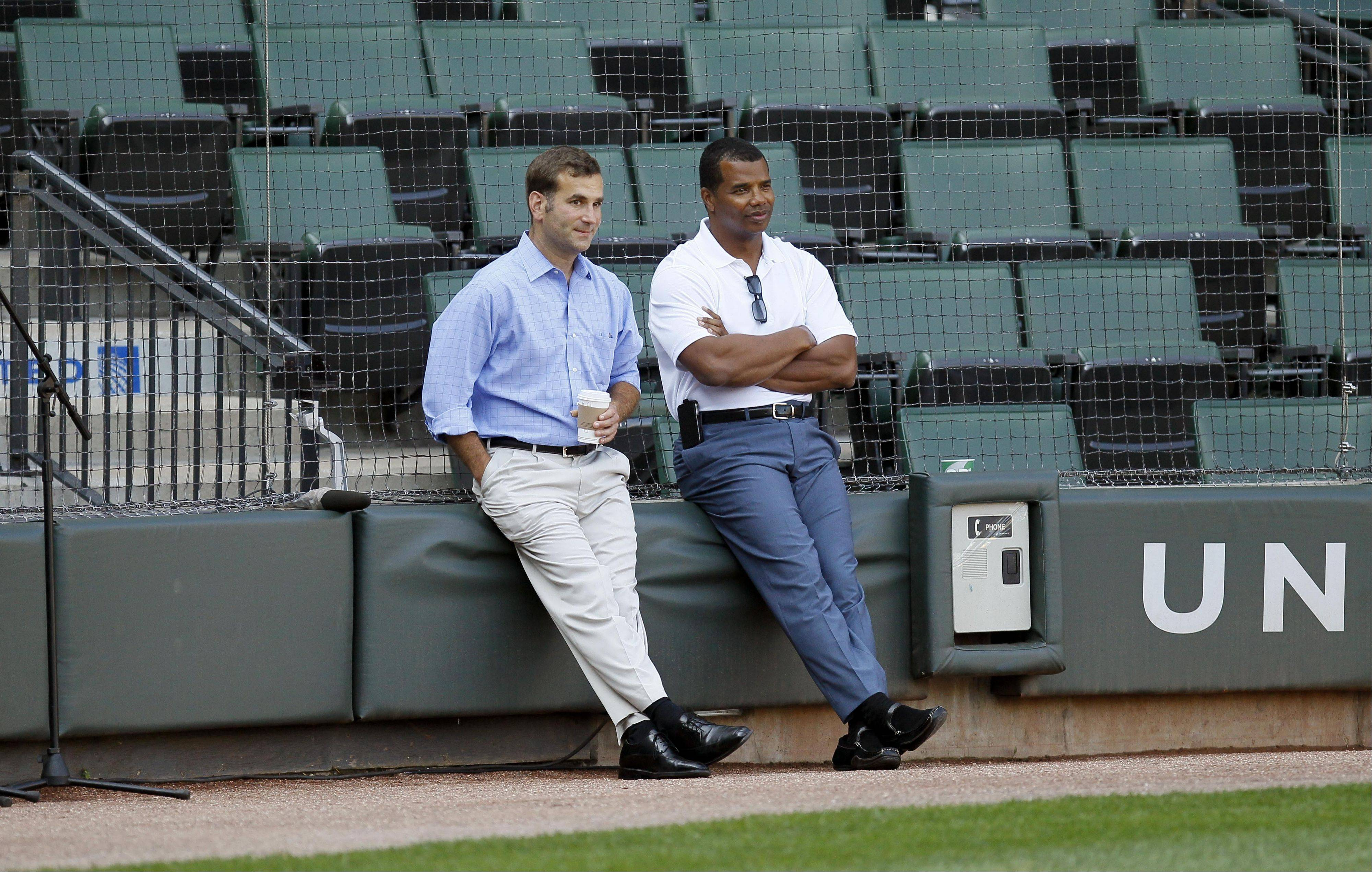 One national report says the White Sox will promote general manager Kenny Williams, right, to vice president of baseball operations and give the GM role to Rick Hahn, left. The move would be similar to what Jerry Reinsdorf did with the Bulls when John Paxson was promoted and Gar Forman named general manager.