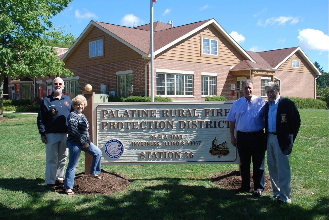 Pictured at the Sept. 8 Palatine Rural Fire Protection District Open House, from left, are William Murray, Linda Fleming, Jack Tatooles and Glen Grosch.