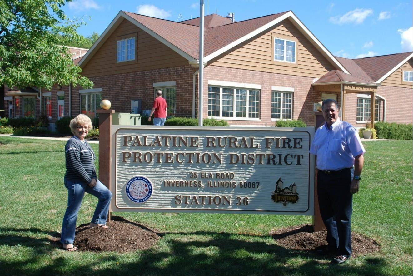 Township President Linda Fleming and Inverness Mayor Jack Tatooles at the Palatine Rural Fire Protection District Open House Sept. 8.