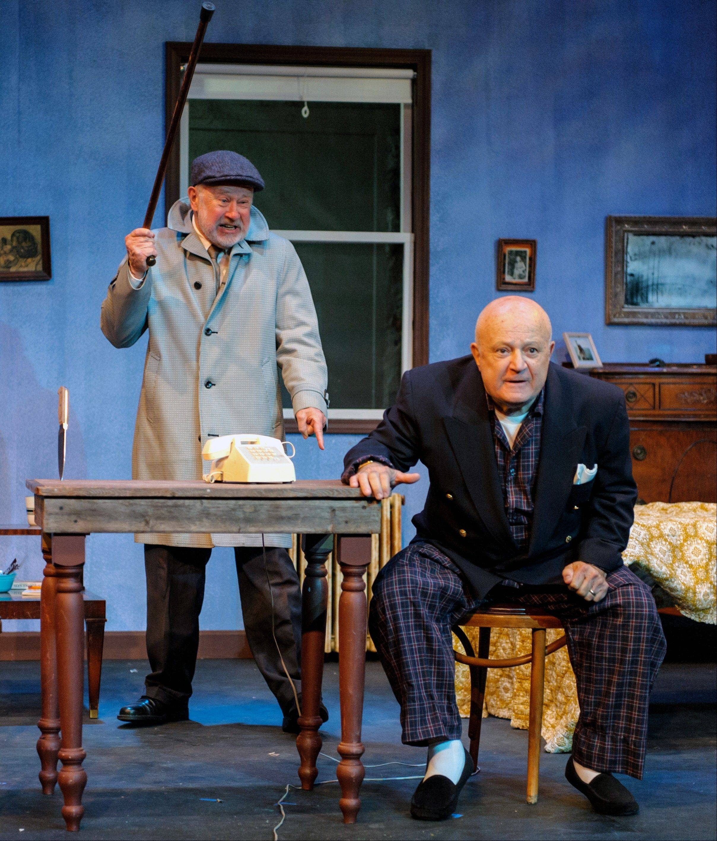 "Richard Westphal, left, and Dean Dranias play former vaudeville partners who reunite for a TV show in Steel Beam Theatre's revival of Neil Simon's ""The Sunshine Boys."""