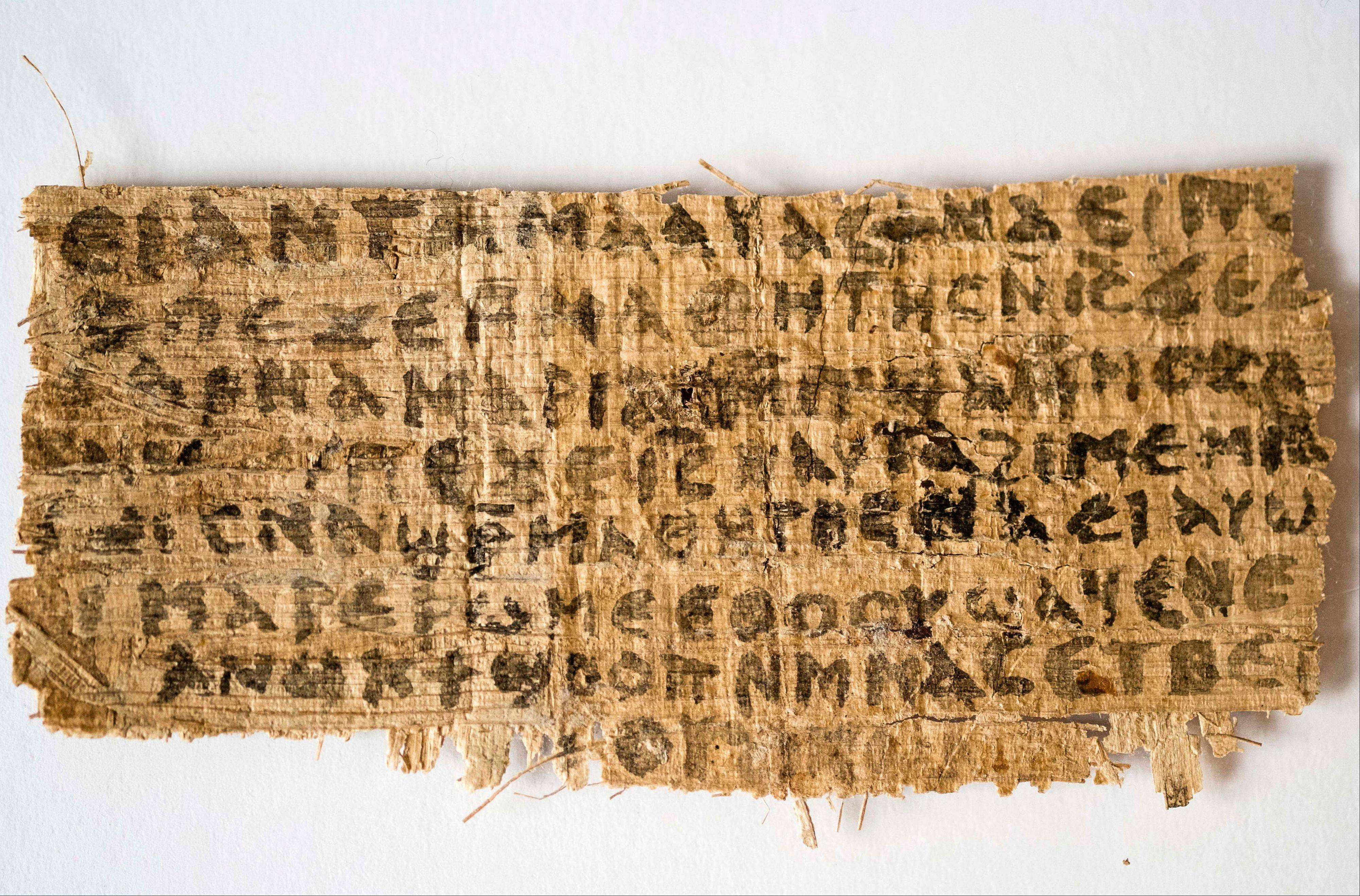 This photo released by Harvard University shows a fourth-century fragment of papyrus that divinity professor Karen L. King says is the only existing ancient text that quotes Jesus explicitly referring to having a wife. But international scholars say the fragment's grammar, form and content raise several red flags.