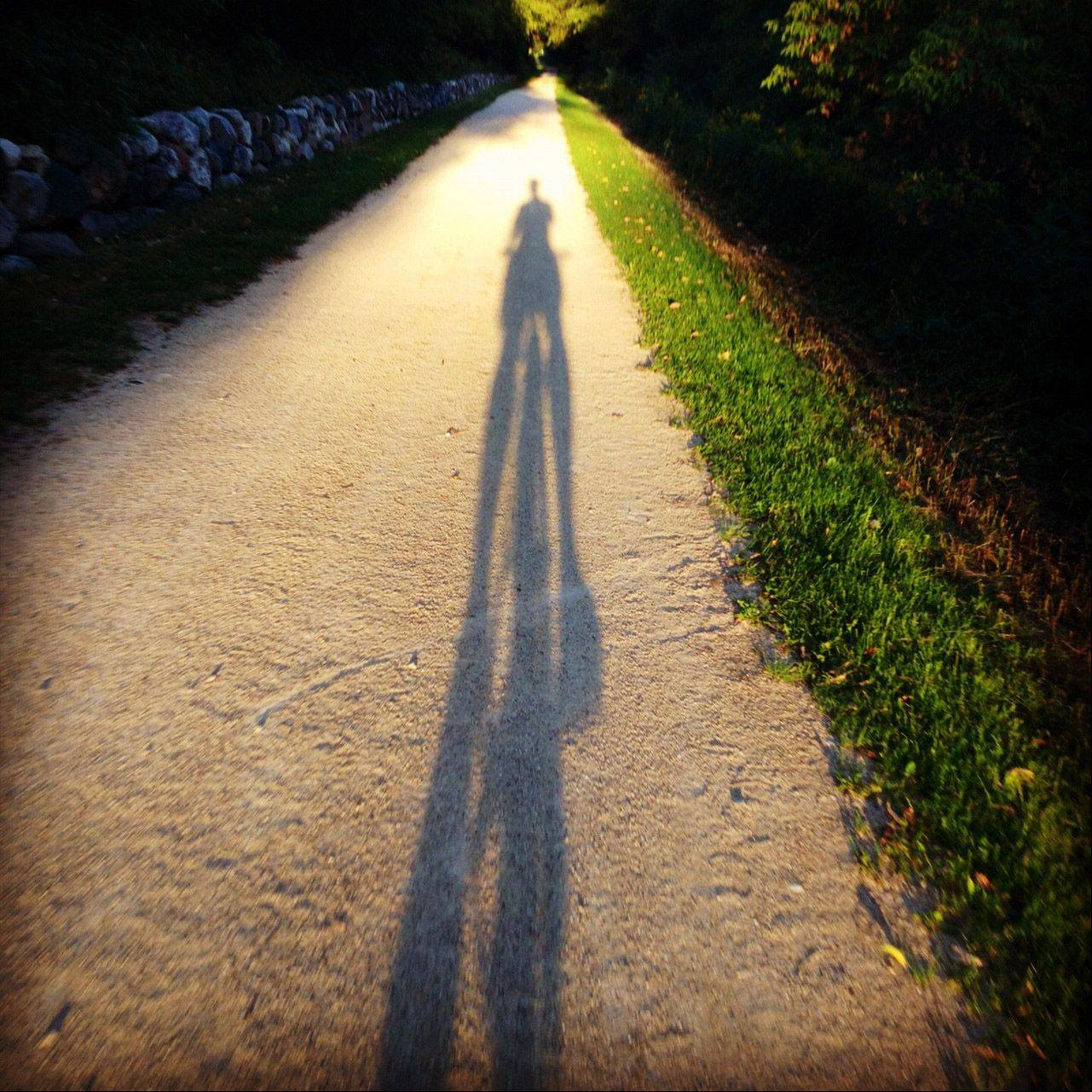 A shadow of a rider and bike falls across the Middlefork Savannah bike path during the late afternoon on September 12th.