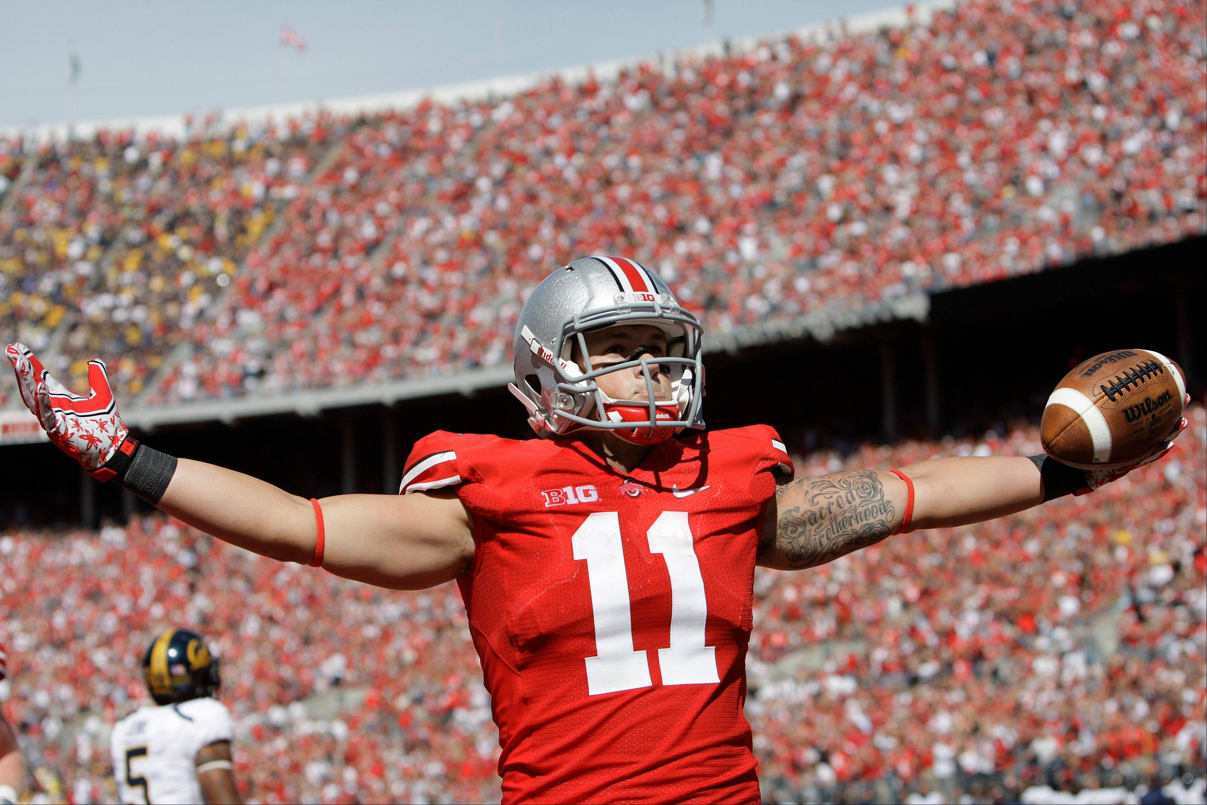 Ohio State's Jake Stoneburner celebrates his touchdown against California during the fourth quarter of last Saturday's game in Columbus, Ohio. Ohio State beat Cal 35-28.