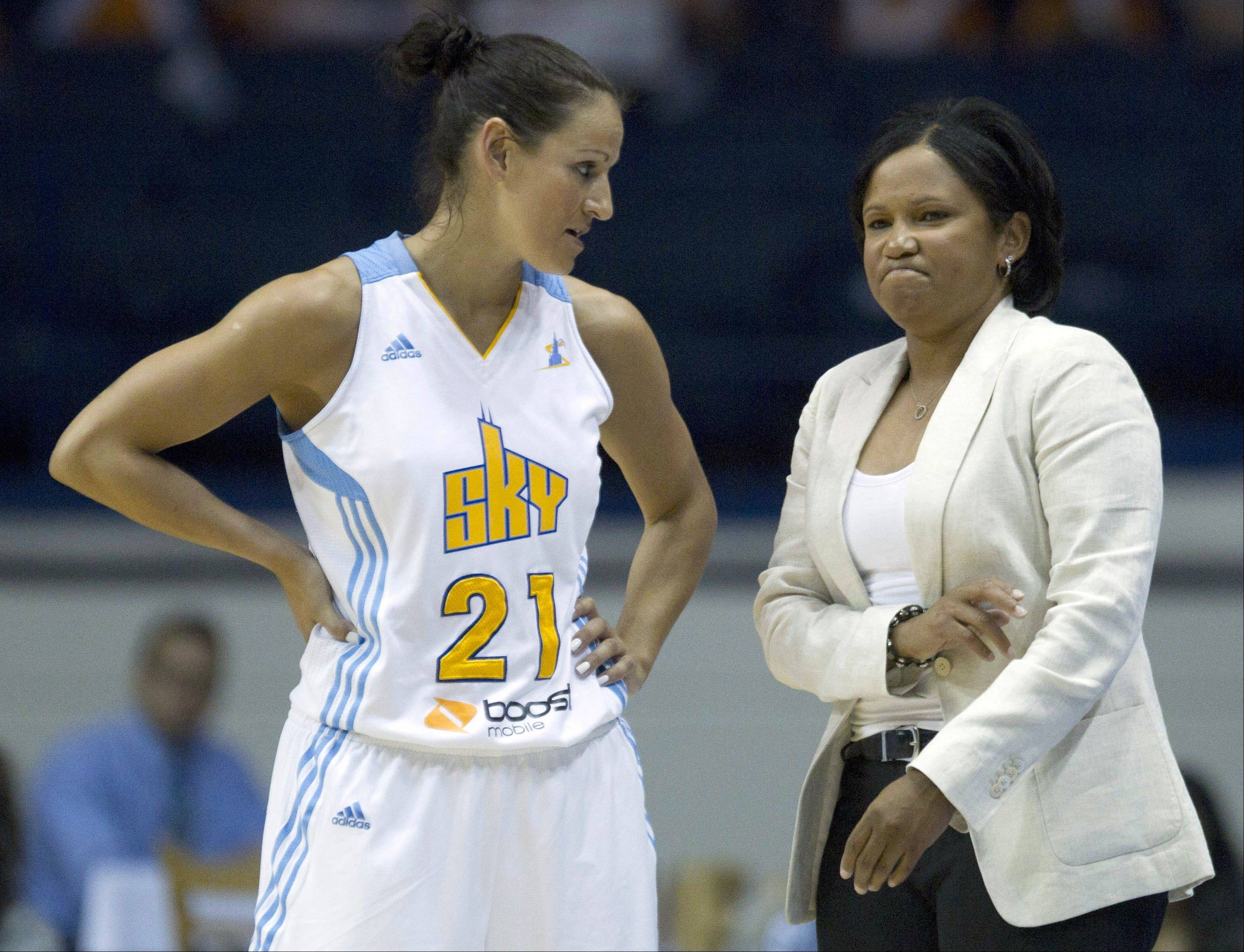The Sky's Ticha Penicheiro listens to head coach Pokey Chatman during a game earlier this season. Penicheiro, the all-time WNBA leader in assists, will close out her 15-year career Saturday.