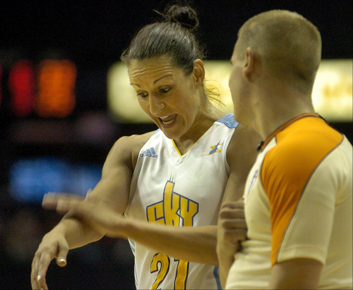 The Sky's Ticha Penicheiro argues a call with the referee earlier this season.