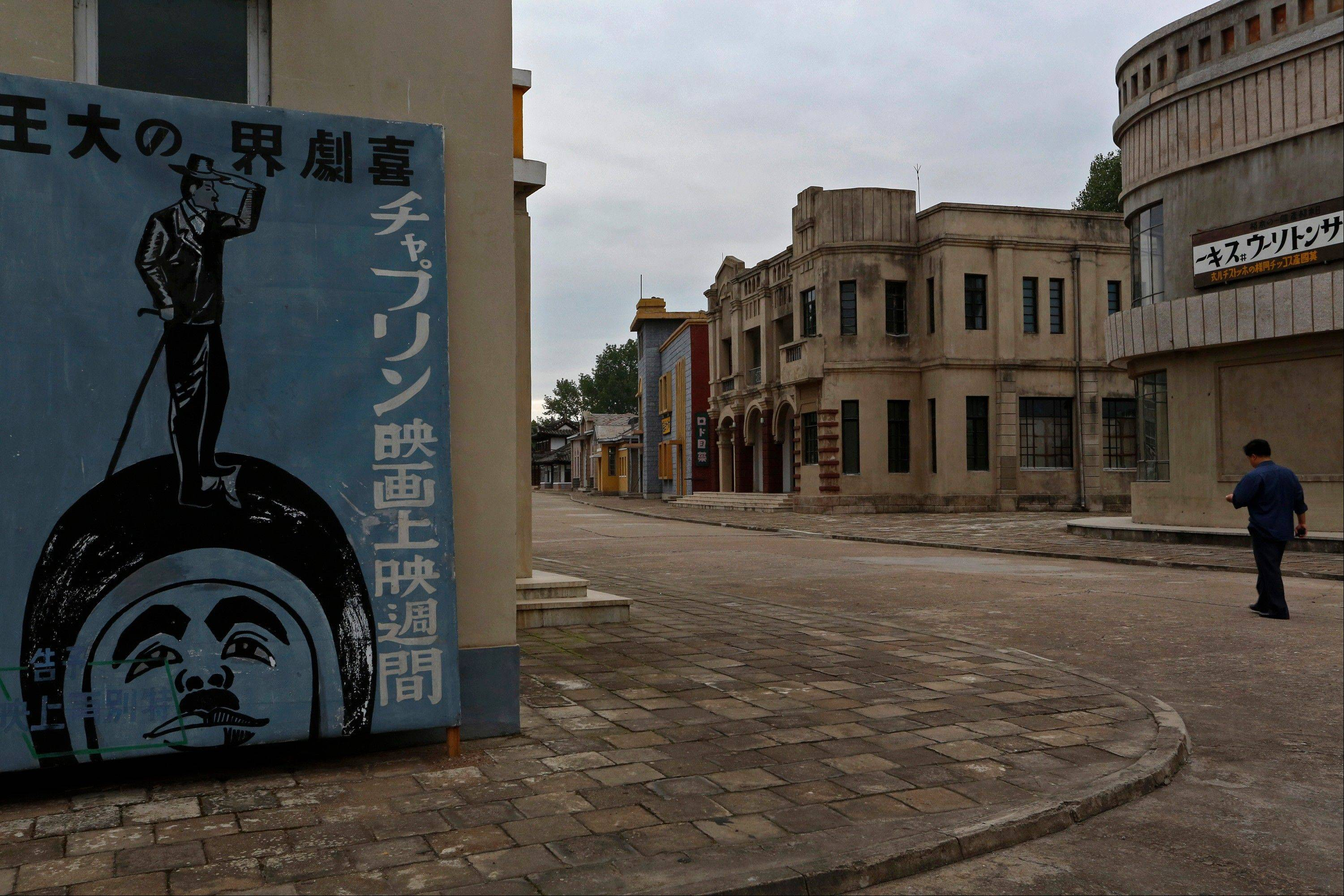 "An international film festival opened Thursday in the unlikeliest of places: North Korea. Letters on the poster written in Japanese read: ""Great king of Comedy, Chaplin Film Screening Week."""