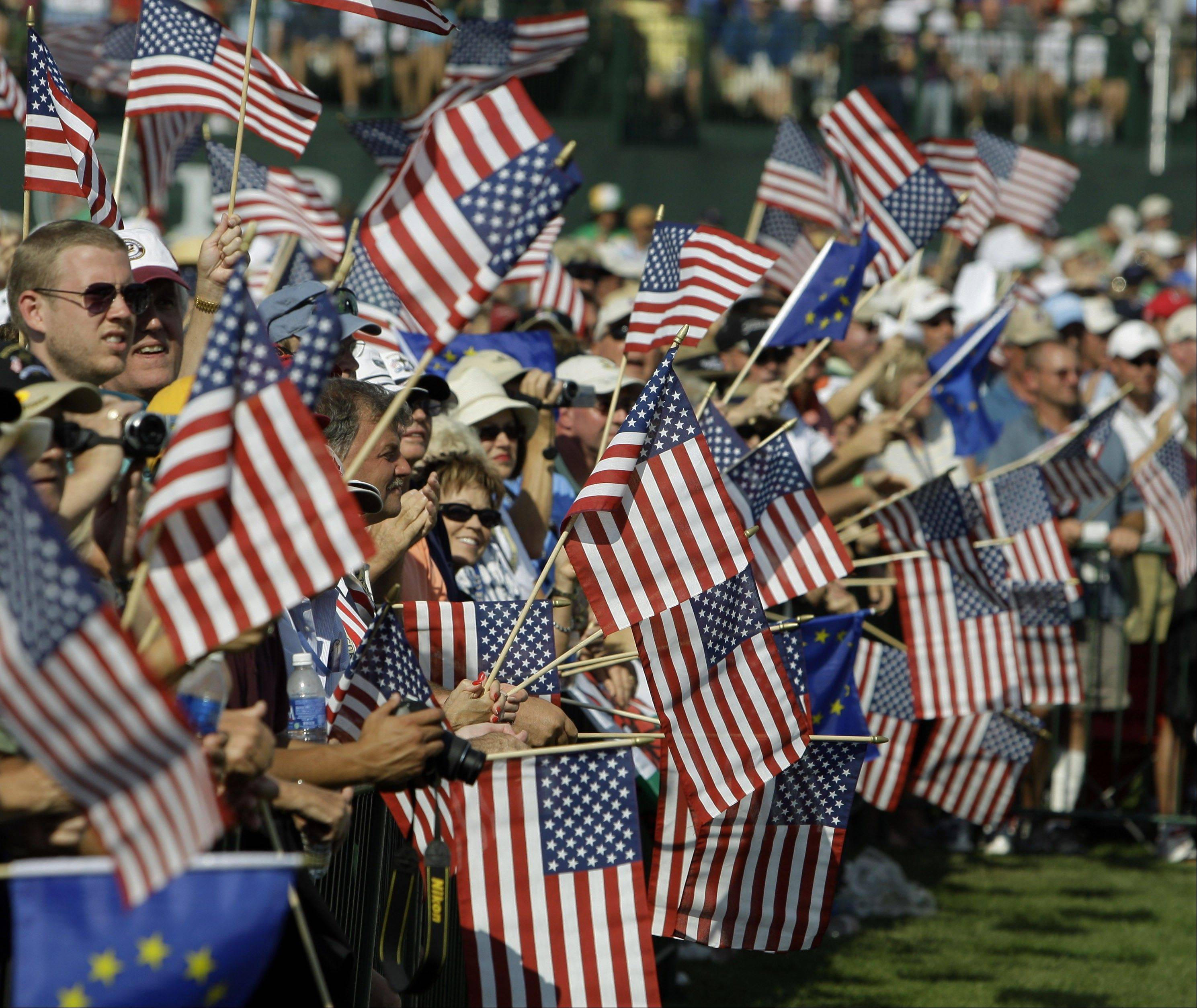 There will be lots of flag waving this week at Medinah Country Club, just as there was in 2008 when fans welcomes Team USA at the Ryder Cup opening ceremonies (above) at Valhalla Golf Club in Louisville, Ky. In golf, it's the biggest event of the year.