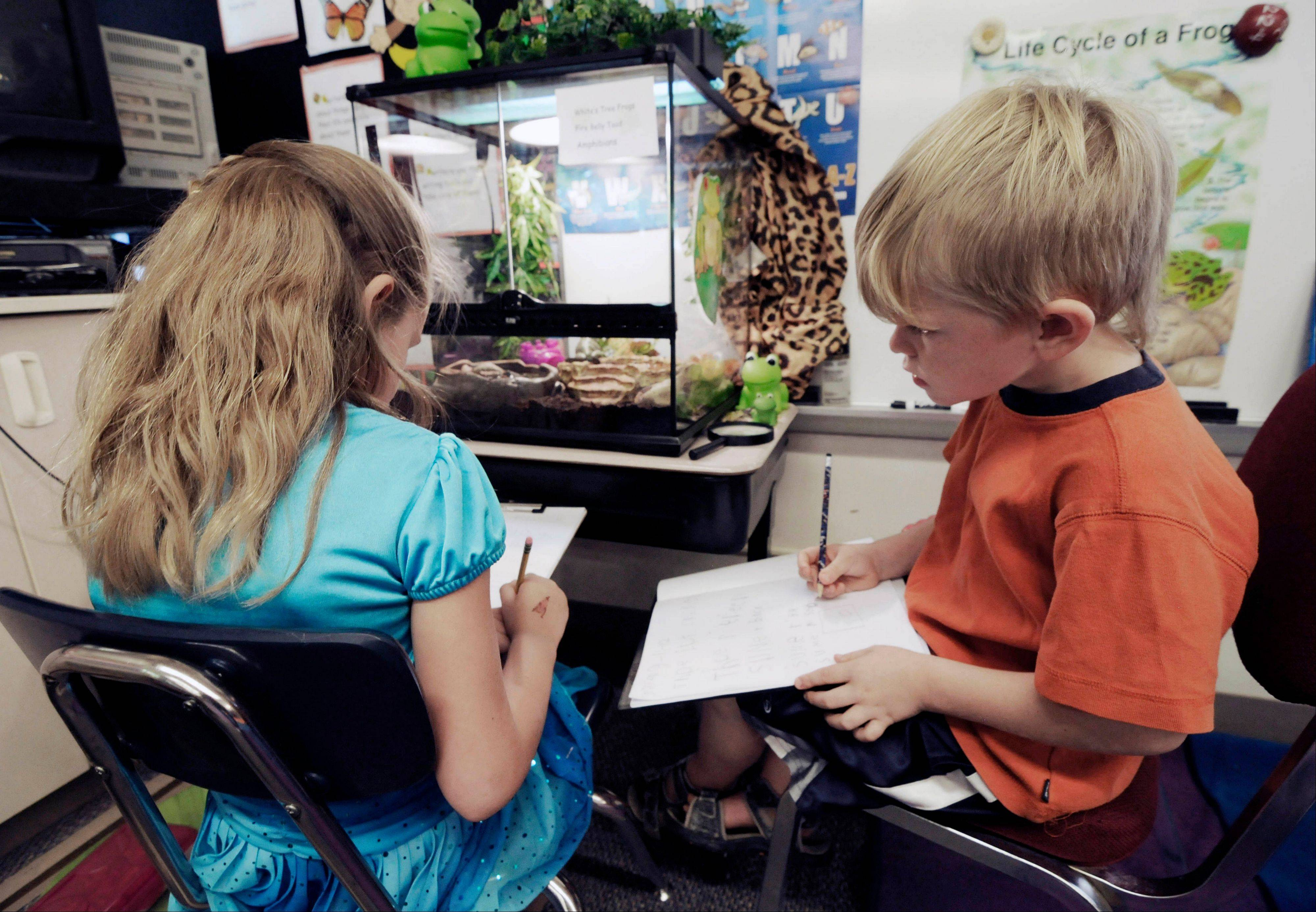 Rhyen Miska, left, and Dillon Wolfe take notes as they observe frogs and toads in the first-grade classroom of Dawn Slinger in Farmington, Minn. Students watch, research, draw and write about the animals as they compile their observations in a journal.