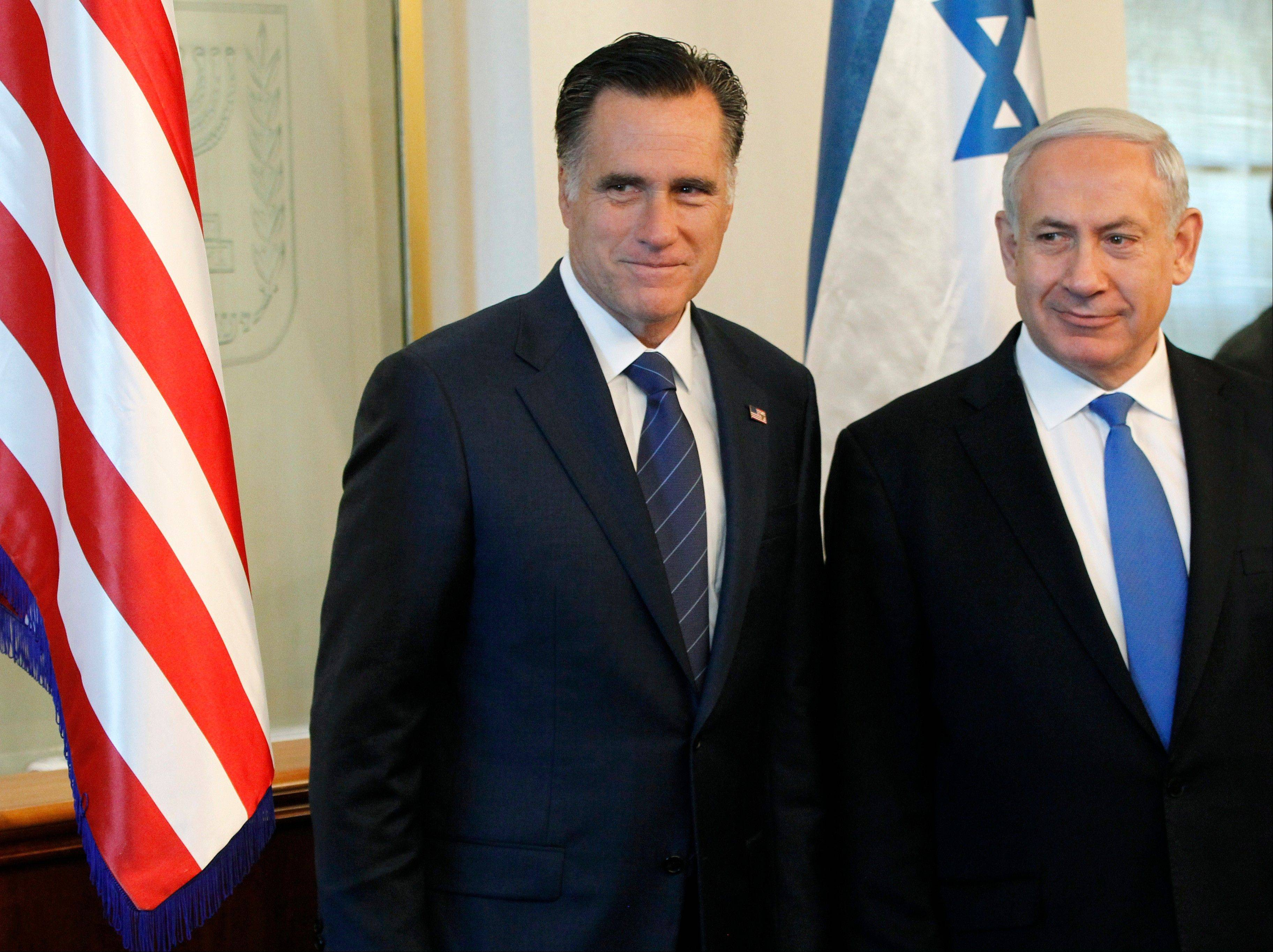 Republican presidential candidate and former Massachusetts Gov. Mitt Romney meets with Israel's Prime Minister Benjamin Netanyahu in Jerusalem. It is a taboo for Israeli leaders to give even the slightest hint of favoritism in politics in the United States, Israel's closest ally. So some Israelis are squirming over a perception that Prime Minister Benjamin Netanyahu is siding with Republican Mitt Romney in the U.S. presidential race.