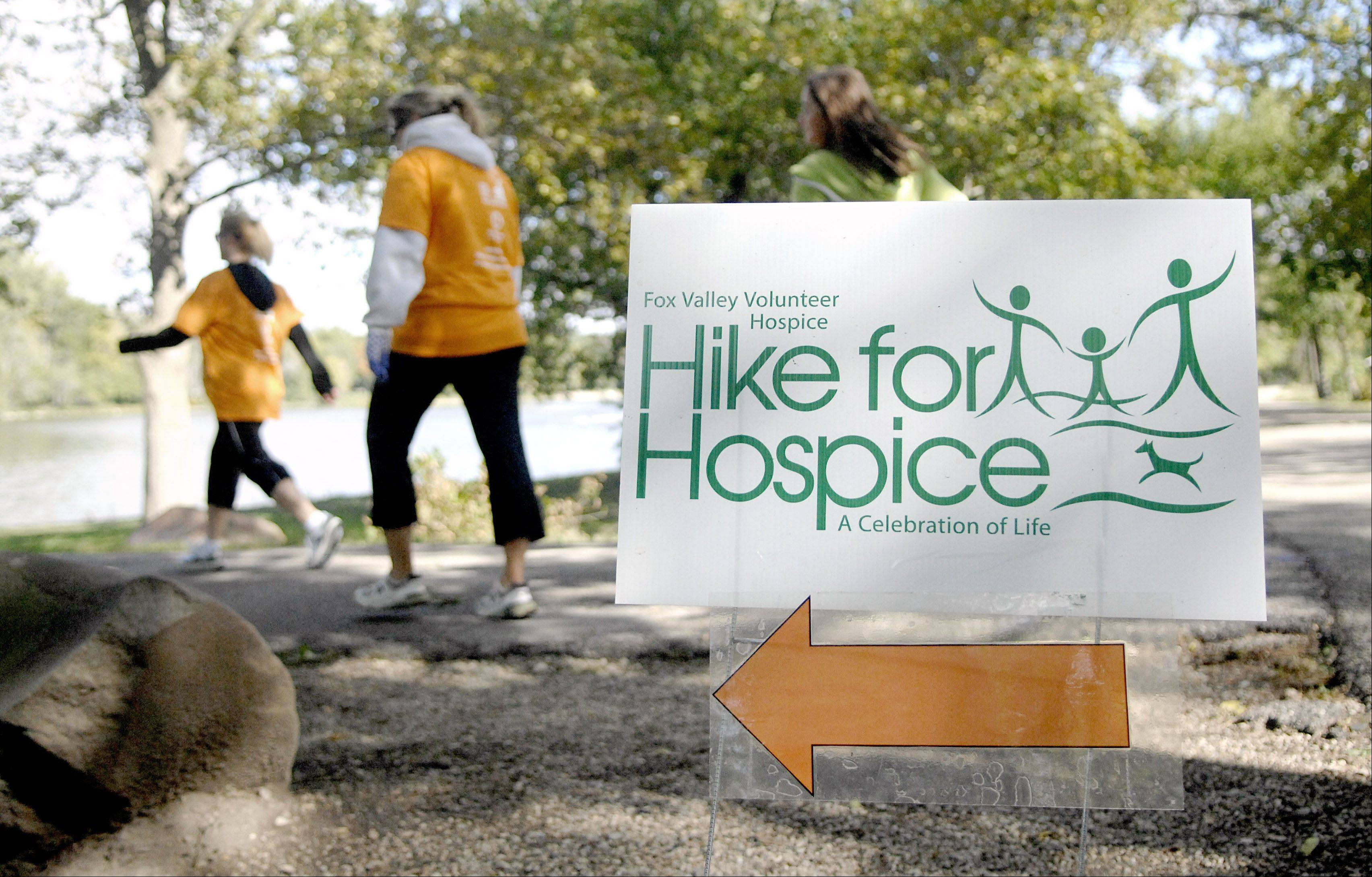 About 190 participants joined in Fox Valley Volunteer Hospice's sixth annual Hike for Hospice 5K on Saturday along the Fox River Trail in Batavia.
