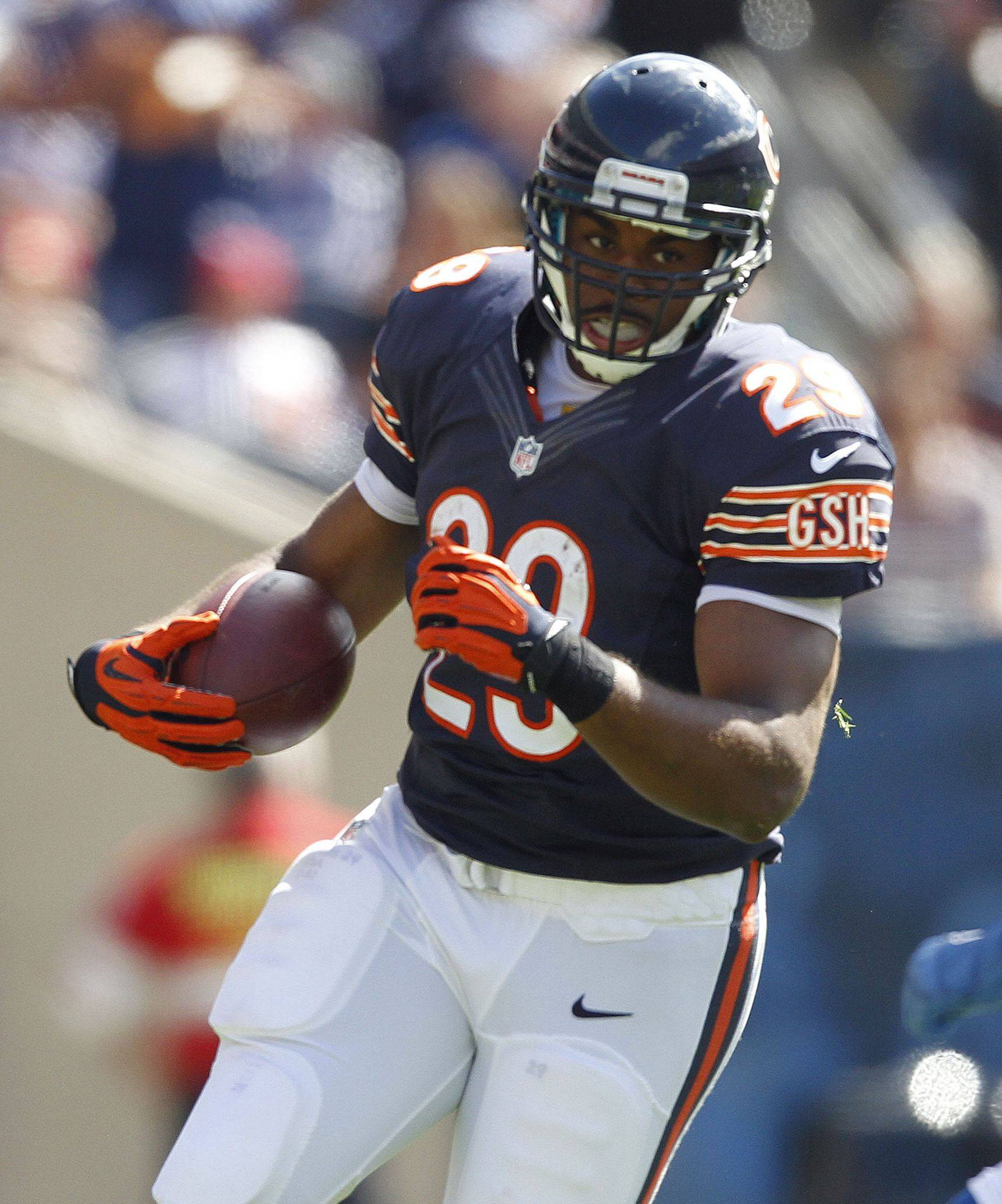 Michael Bush is the featured running back for the Bears today since Matt Forte is sidelined with an injury.