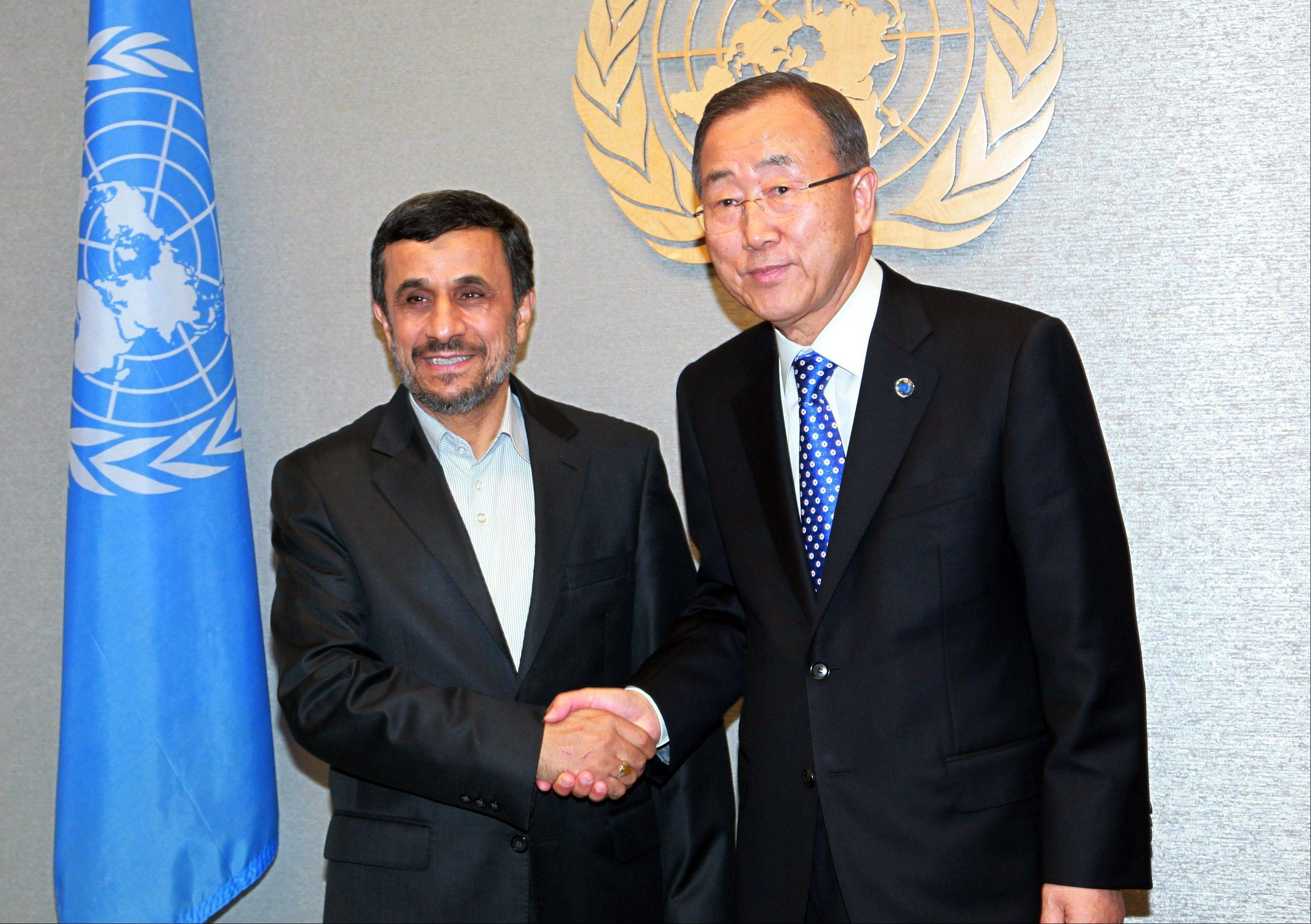 U.N. Secretary-General Ban Ki-moon, right, meets with Iranian President Mahmoud Ahmadinejad, left, at United Nations Headquarters for the 67th session of the General Assembly Sunday.