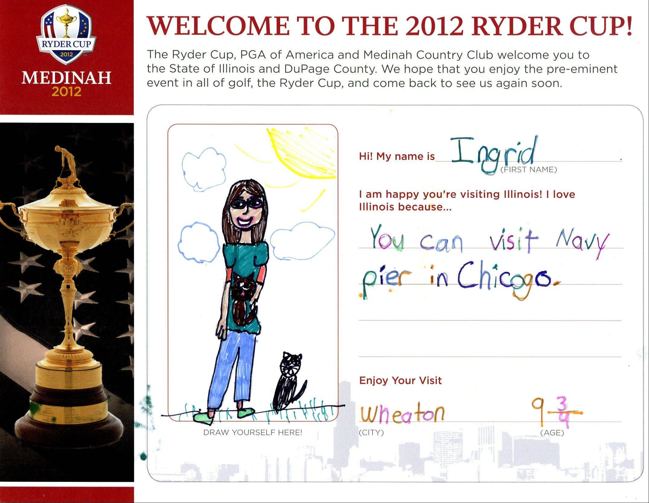 Cards created by students greet Ryder Clup hotel guests