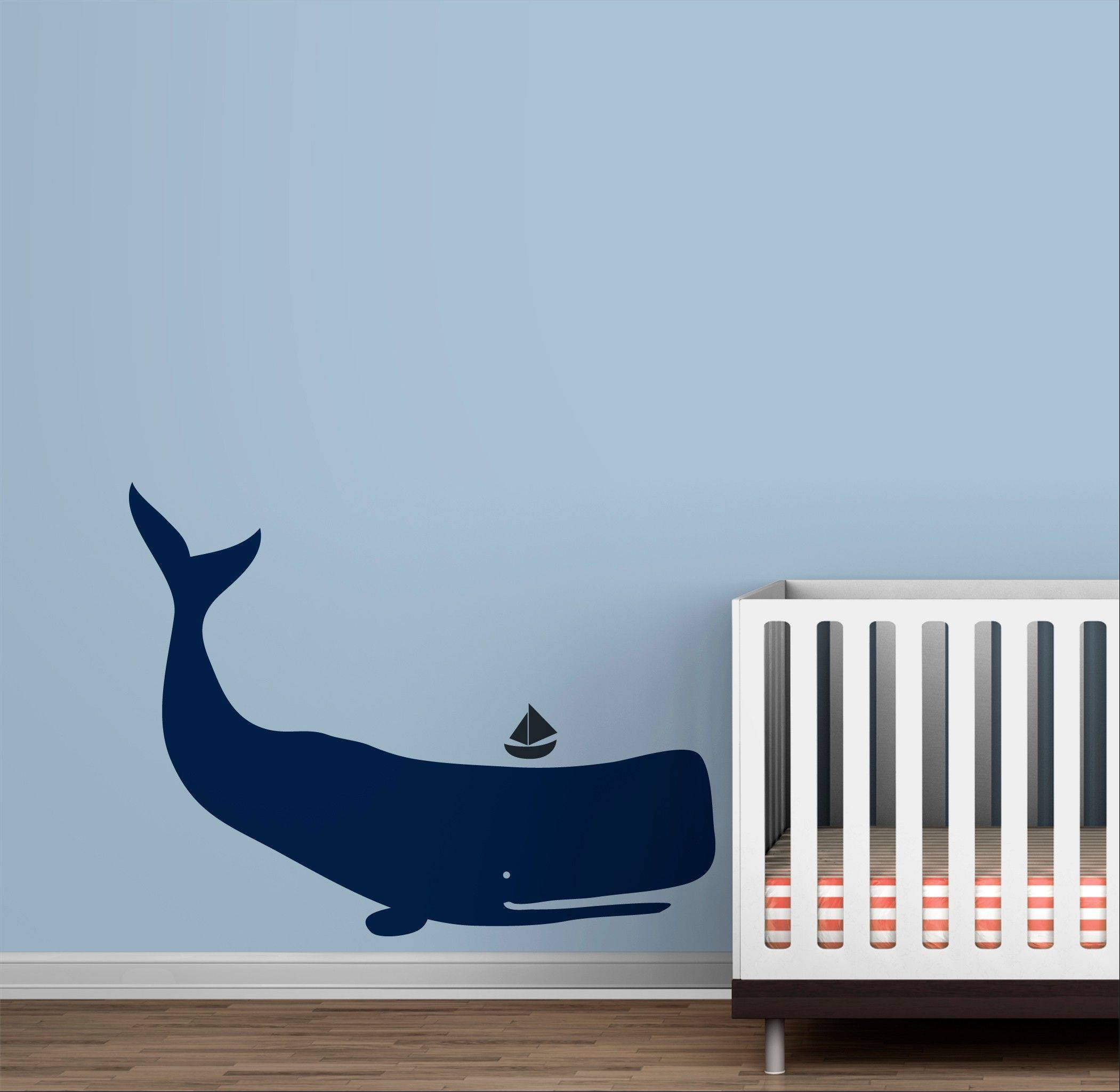 A whale decal from the Toronto-based LittleLion Studio. Think beyond the standard kitty-cat wall border or dino bedding; here are some decor ideas sophisticated enough to please style-minded parents, too.