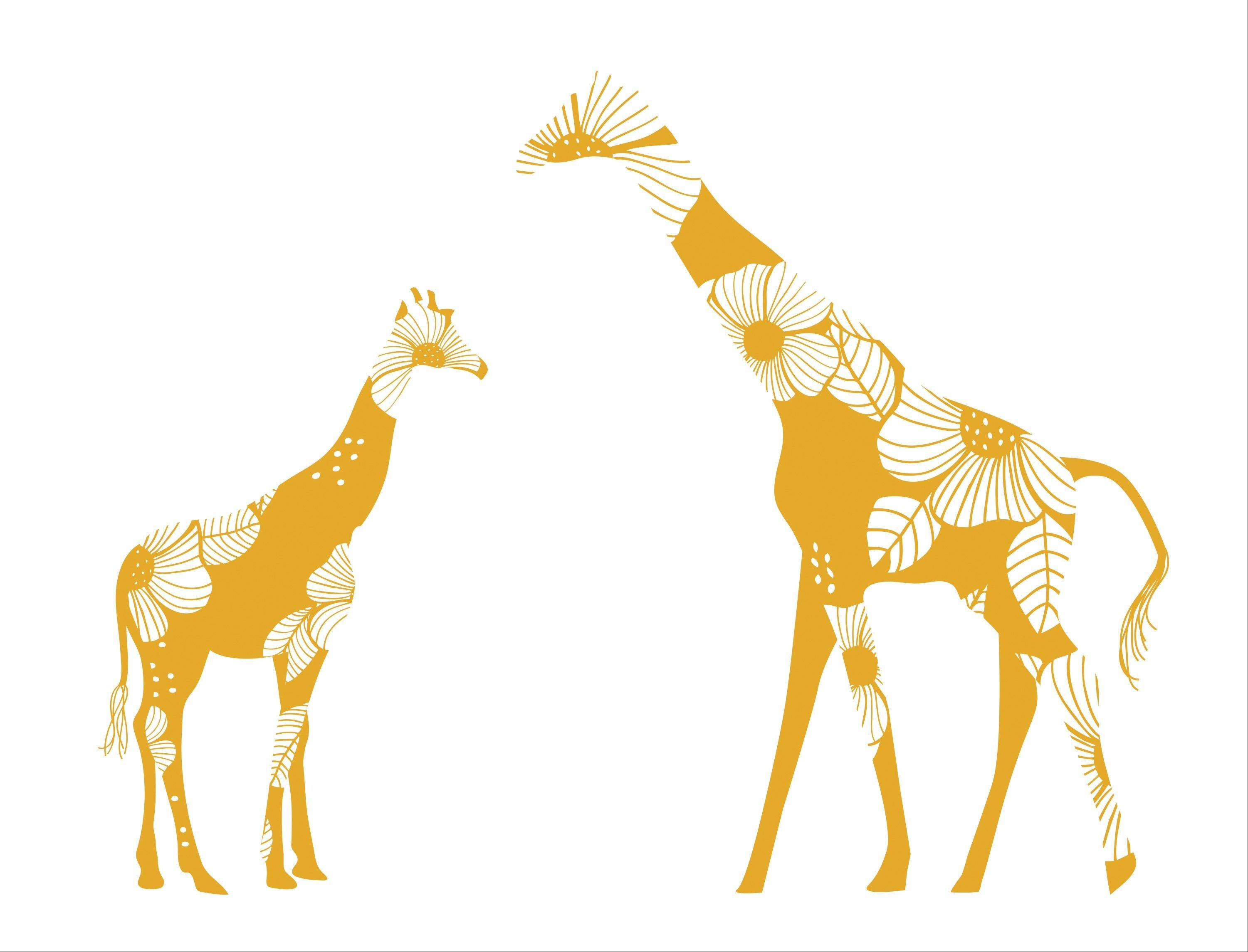 A giraffe family decal from the Toronto-based LittleLion Studio.