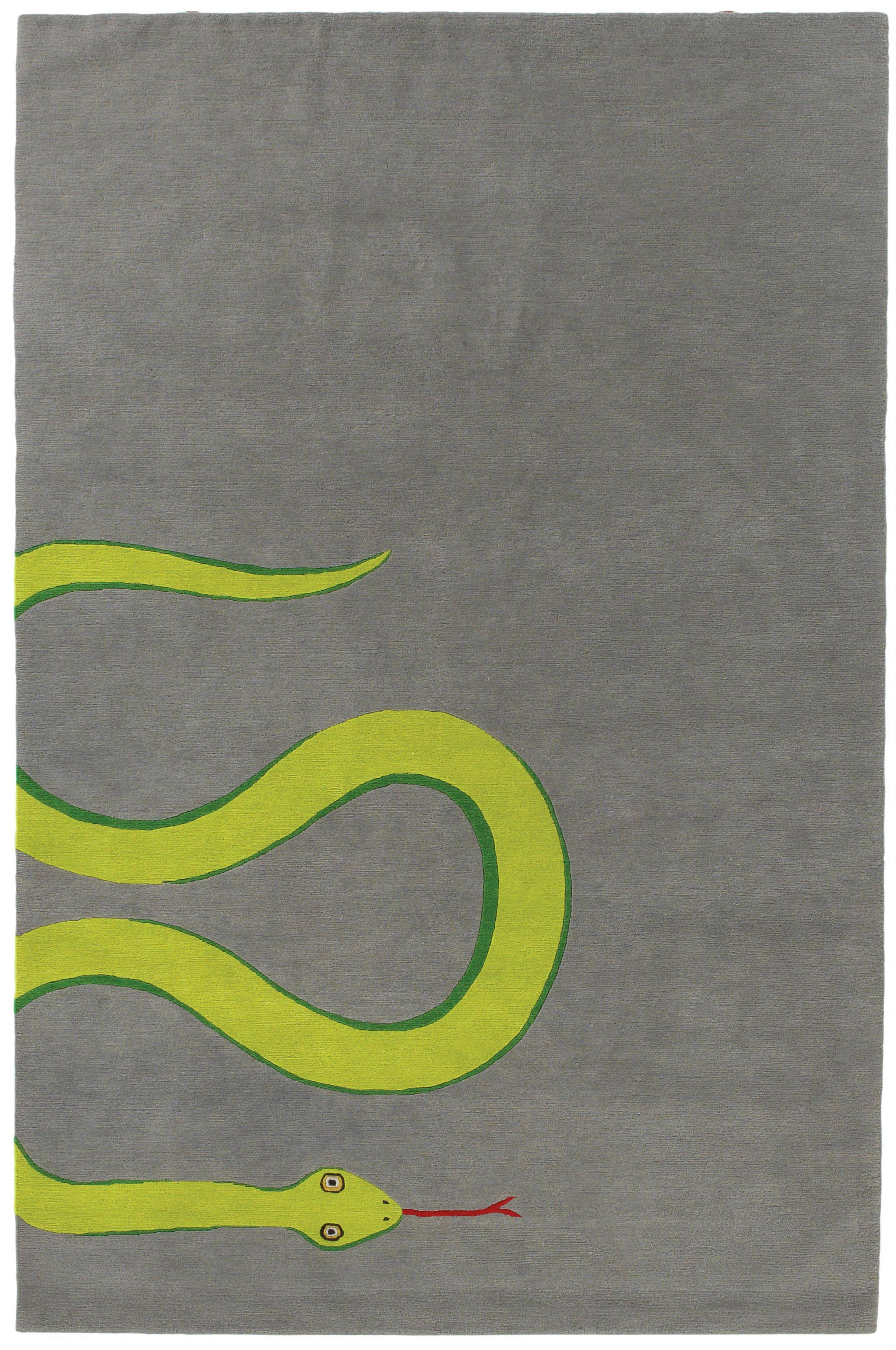 A snake rug created by designers Edward Barber and Jay Osgerby, 6-by-9 feet in size, handmade from 100 knot Tibetan wool.
