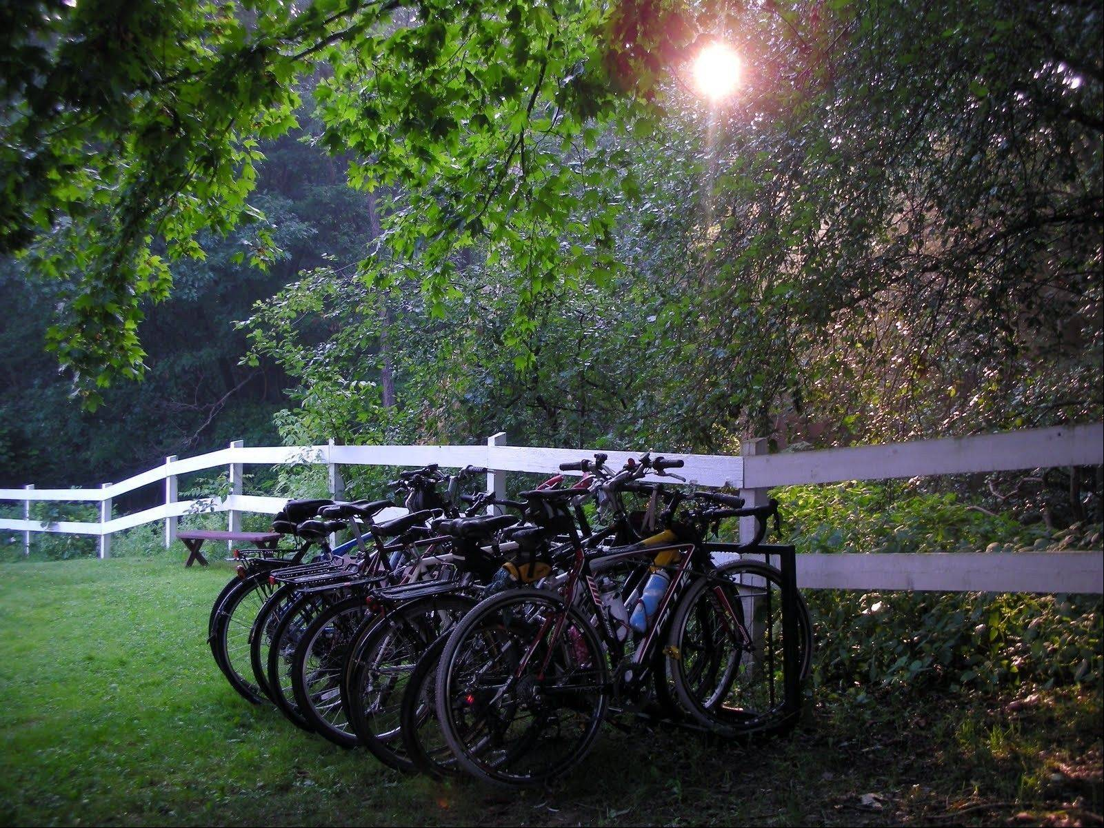 Bikes parked at the Gingerbread House B & B along the Great Allegheny Passage at dawn at Rockwood, Pa. Amenities are well-spaced, but not plentiful along the trail between Pittsburgh and Cumberland, Md.