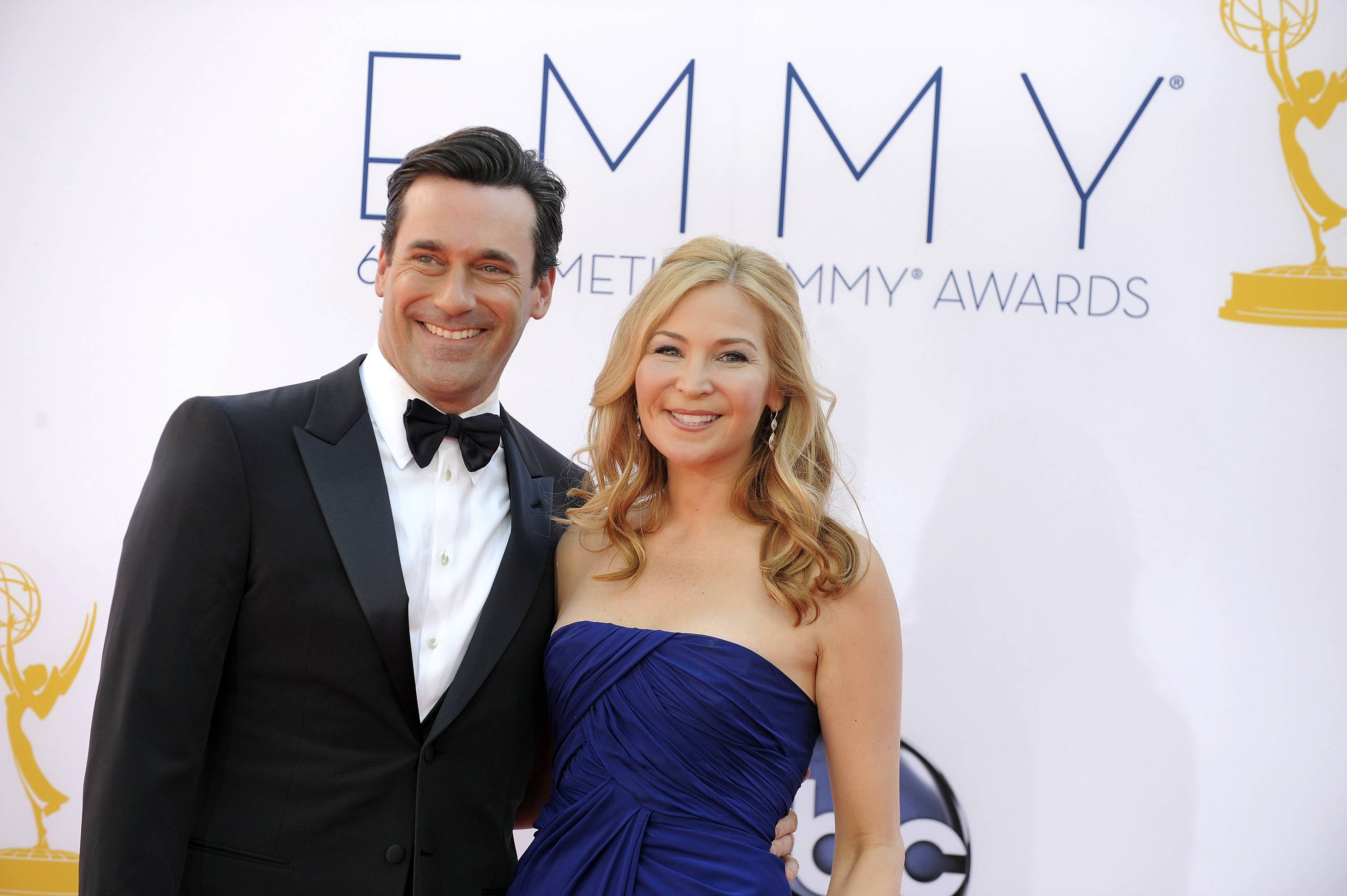 """Mad Men"" actor Jon Hamm along with longtime love actress Jennifer Westfeldt arrive for Emmy night. Hamm and his award-winning show could break some Emmy records."