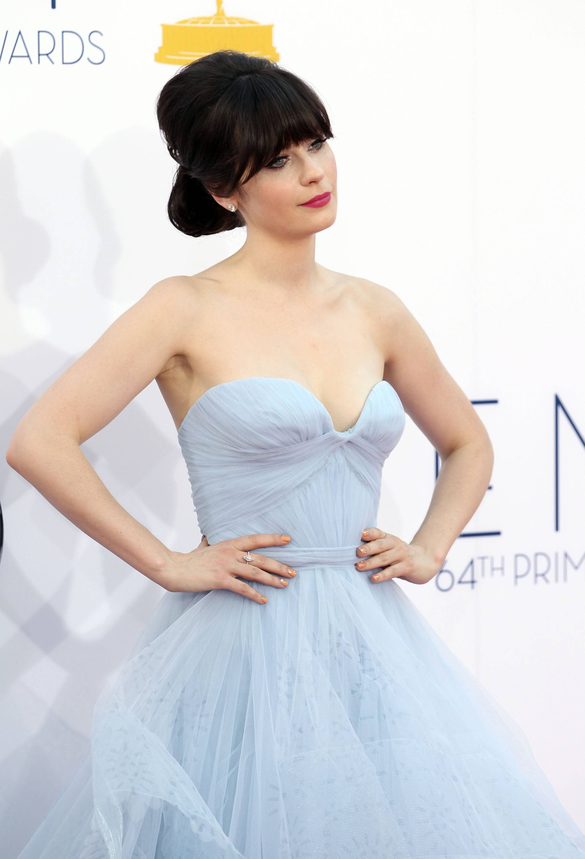 """New Girl"" star Zooey Deschanel picks a more offbeat gown for her first Emmy nomination for her role as Jess."