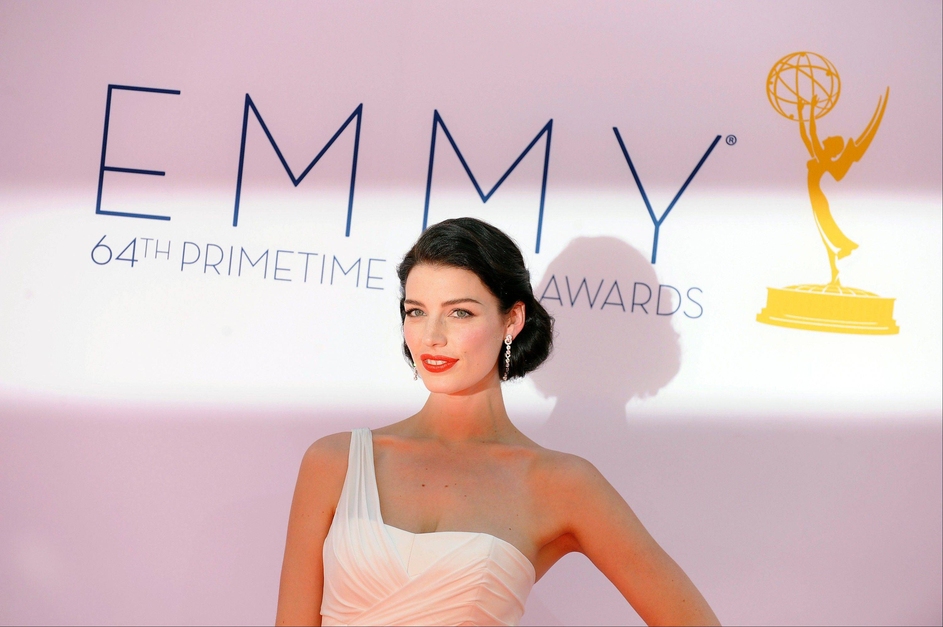 Actress Jessica Pare arrives at the 64th Primetime Emmy Awards at the Nokia Theatre on Sunday, Sept. 23, 2012, in Los Angeles.