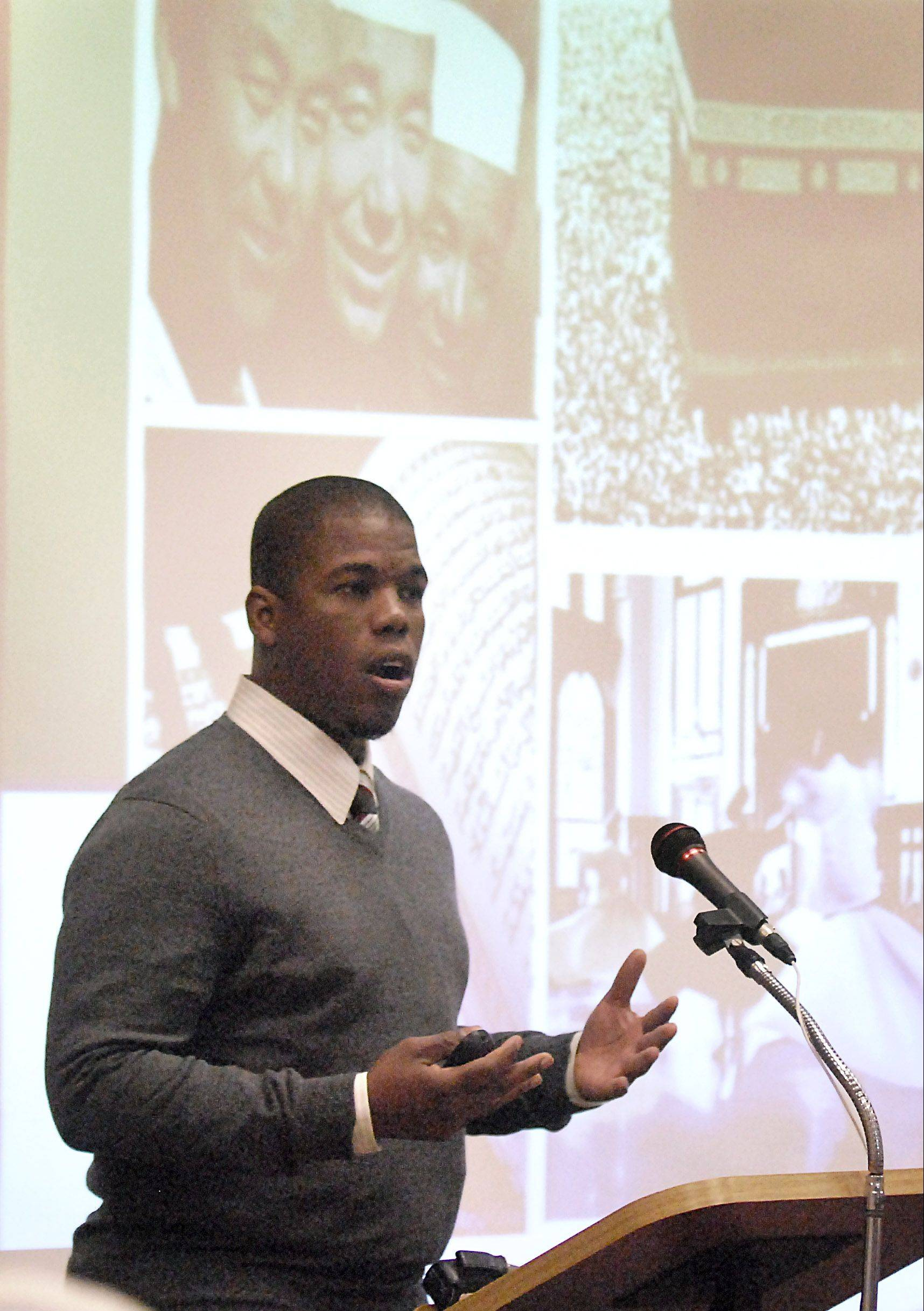 "Gerald Hankerson, outreach coordinator for CAIR-Chicago, speaks Saturday at Hanover Park's forum called, ""Who are my Muslim neighbors?"""