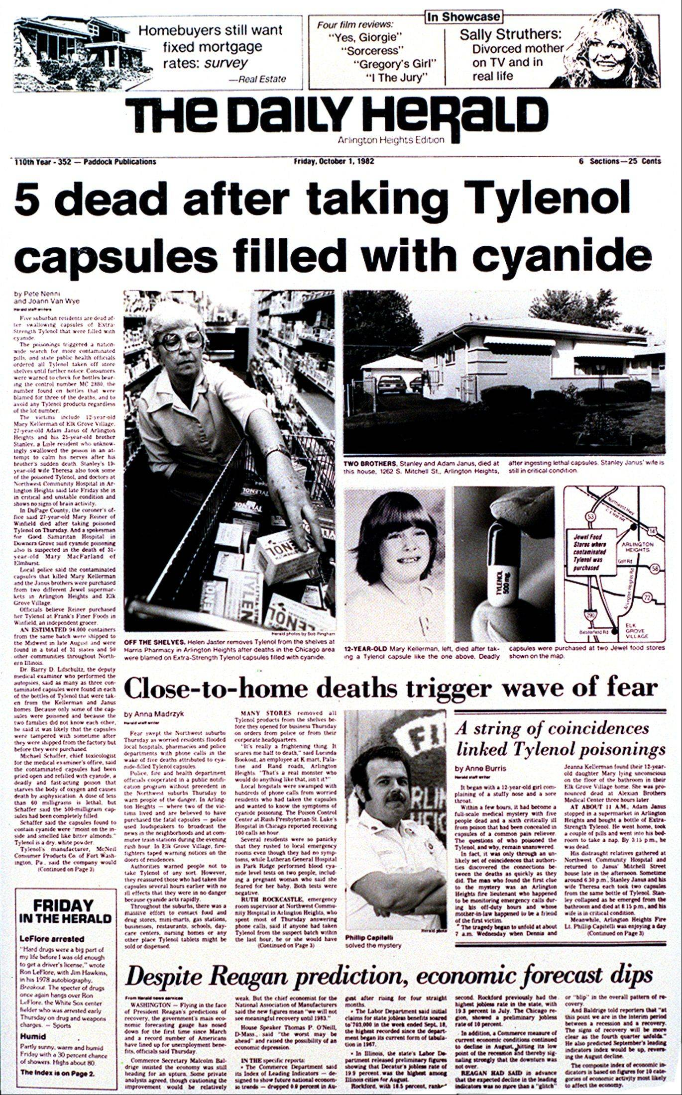 The Daily Herald's front page in 1982, when the Tylenol poisoning story broke.