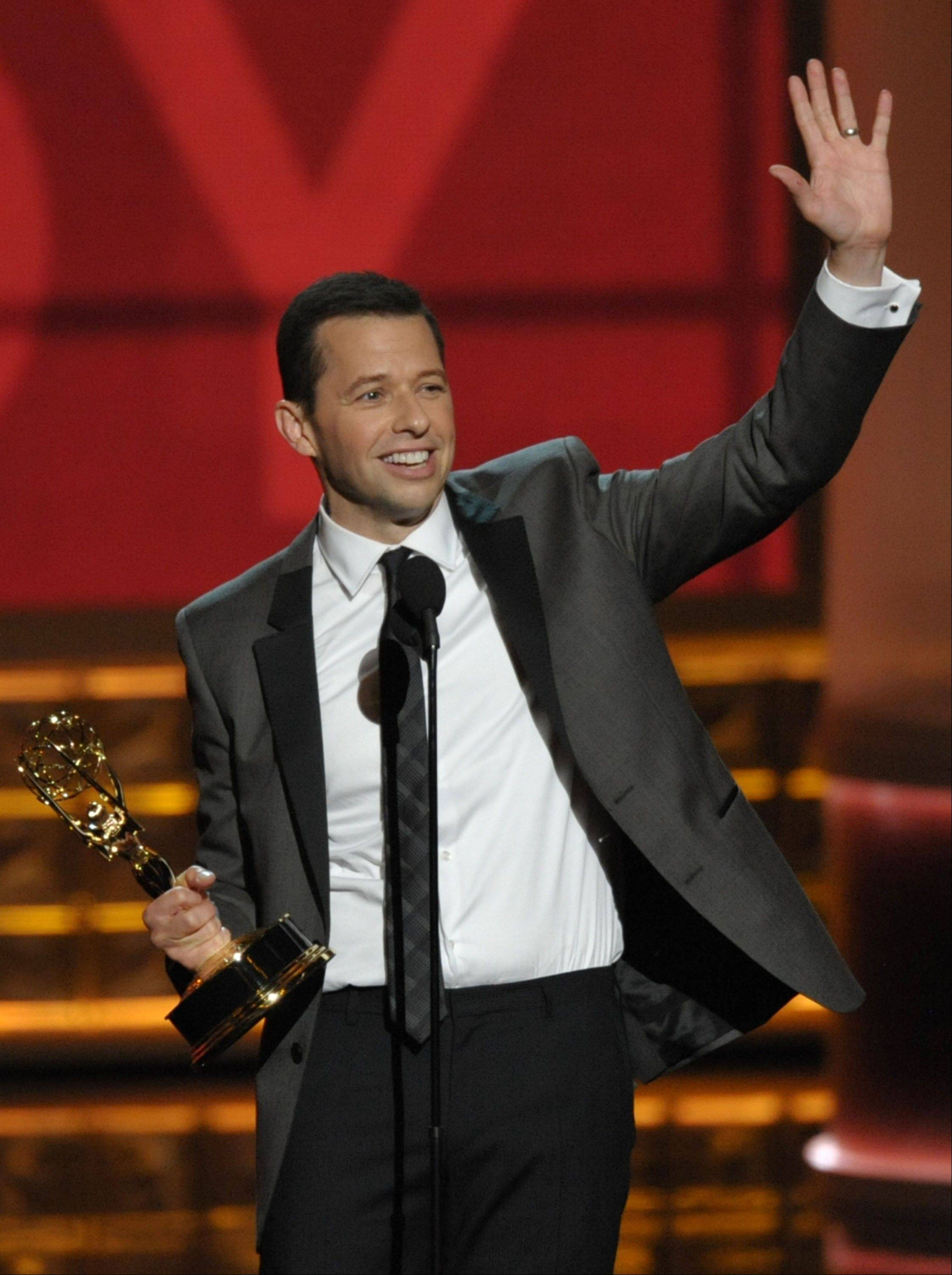 "Jon Cryer accepts the award for outstanding lead actor in a comedy series for ""Two And A Half Men."""