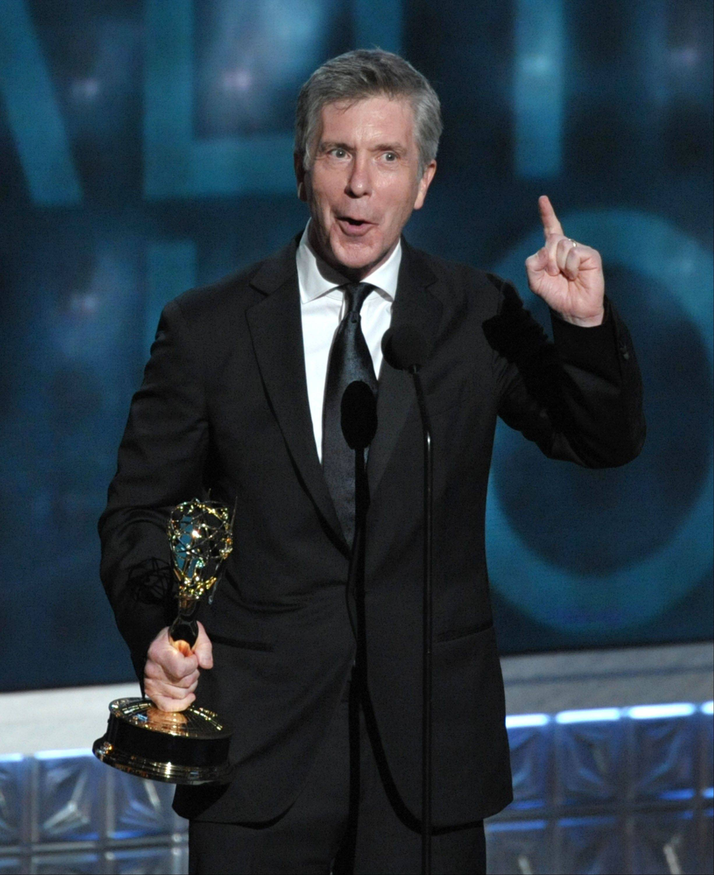 "Tom Bergeron accepts the award for Outstanding Host For A Reality Or Reality-competition Program for ""Dancing With The Stars."""
