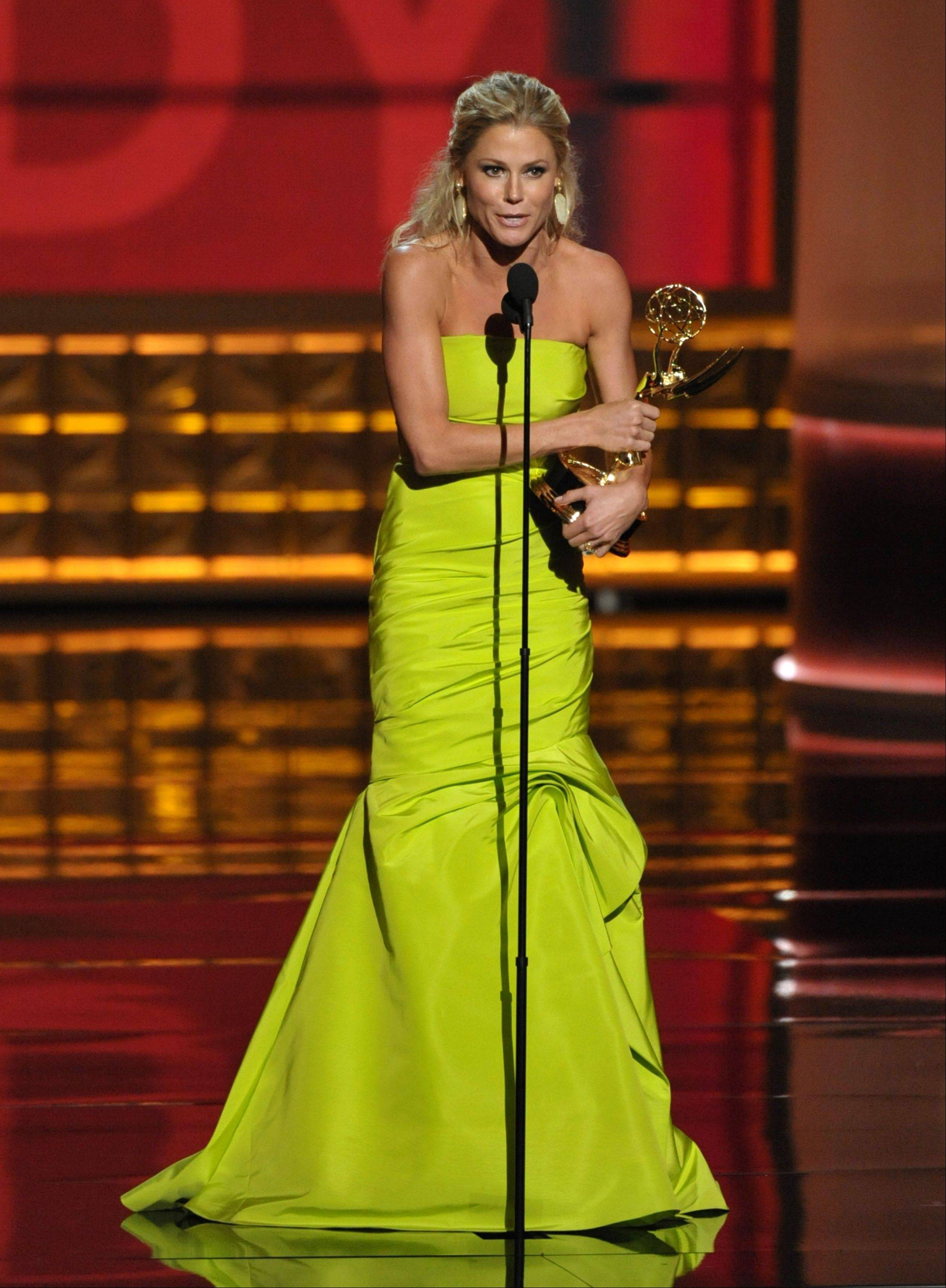 "Julie Bowen accepts the award for outstanding supporting actress in a comedy series for ""Modern Family."""
