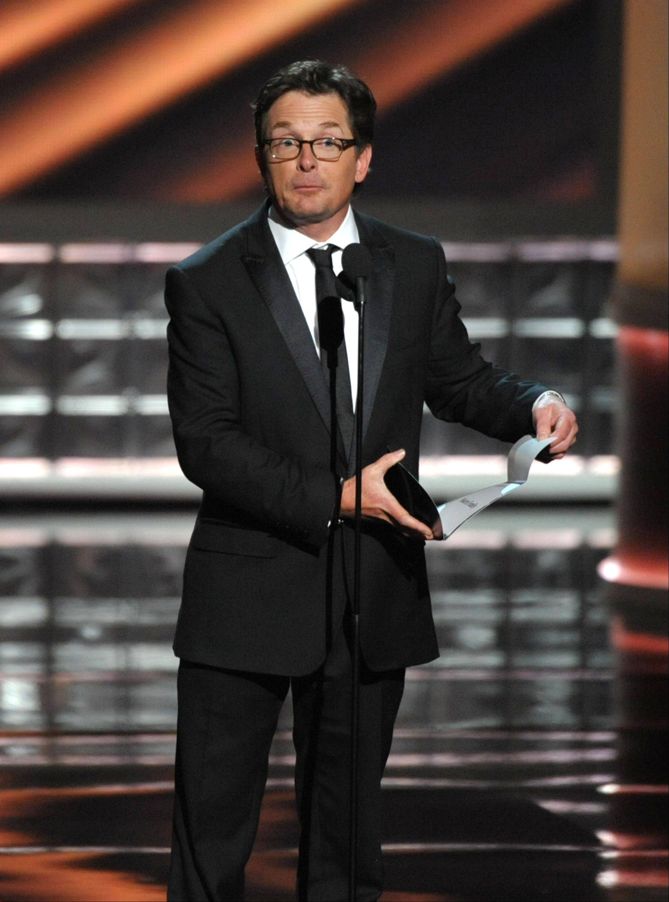 Michael J. Fox presents an award.