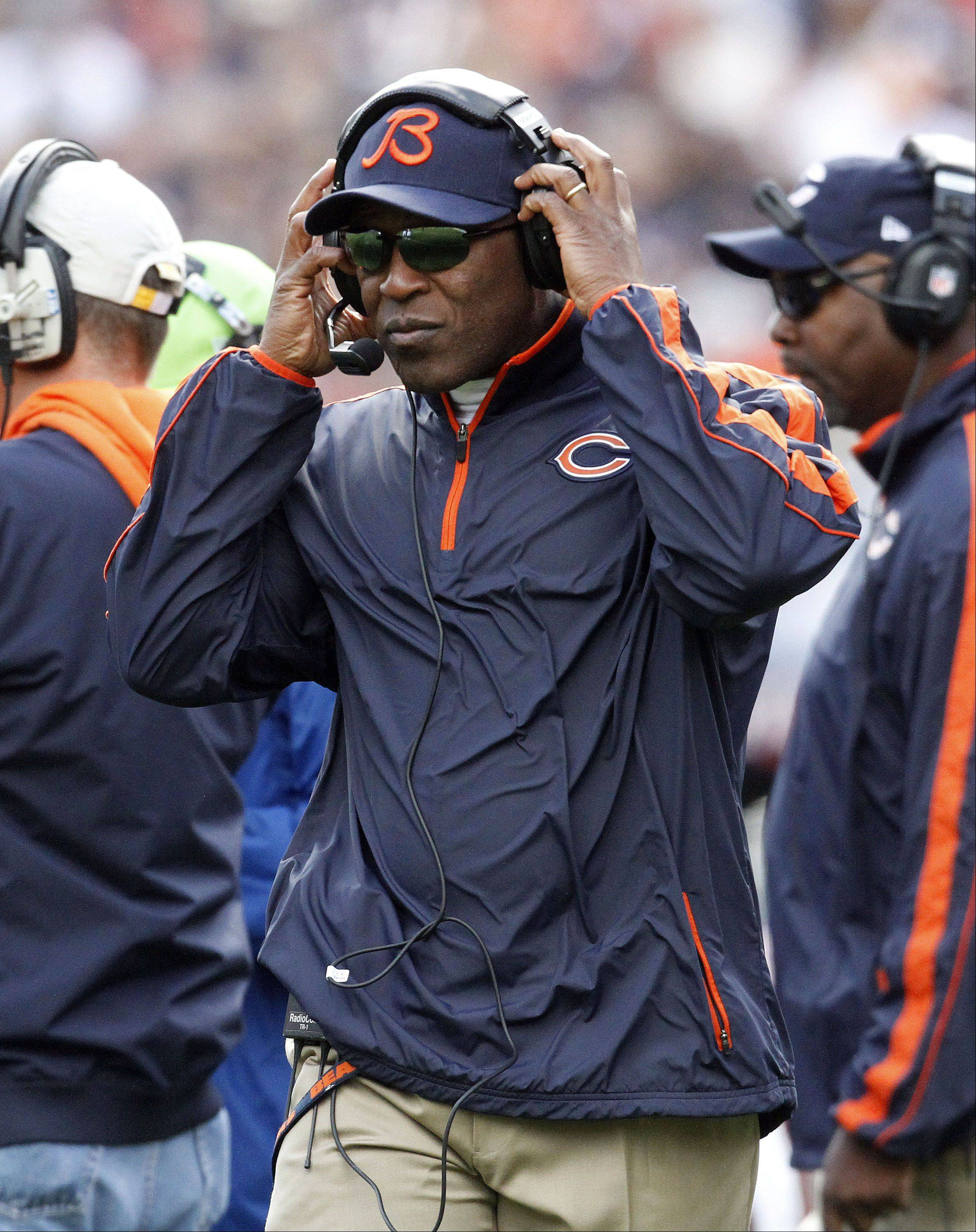 Bears coach Lovie Smith works the sidelines during the Bears 23-6 win over the St. Louis Rams Sunday at Soldier Field in Chicago.